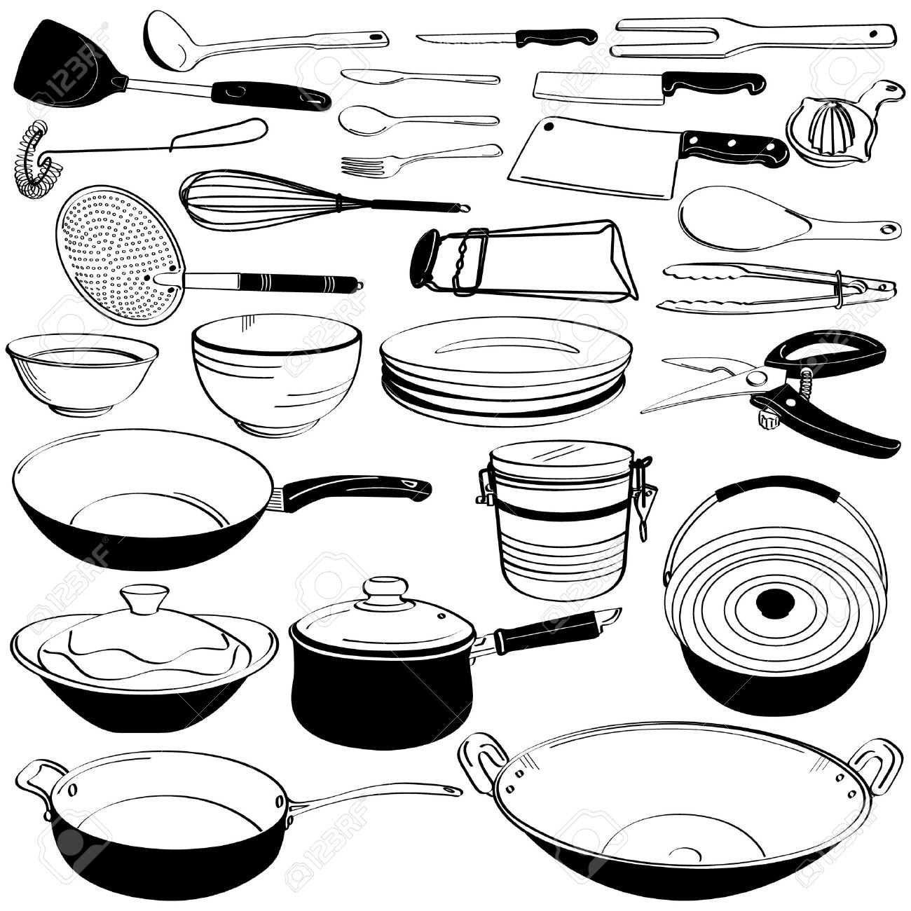Kitchen Tools And Equipment Kitchen Tool Utensil Equipment Doodle Drawing Sketch Royalty Free