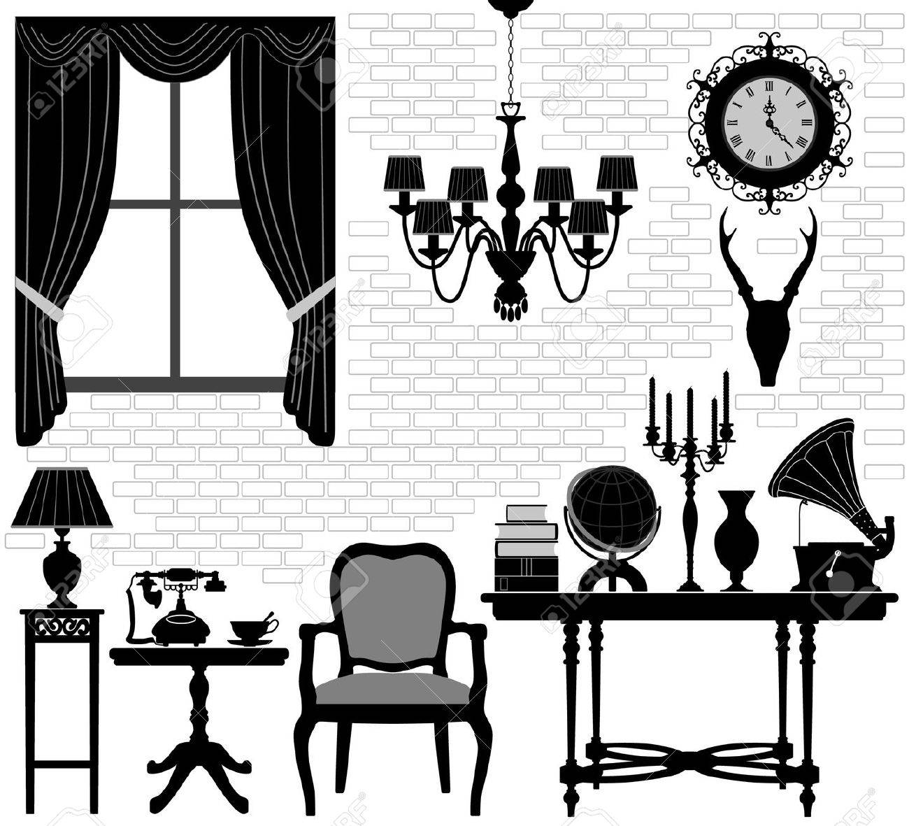 Old Grandfather Room Antique Retro Living Hall Furniture Stock Vector - 11965758