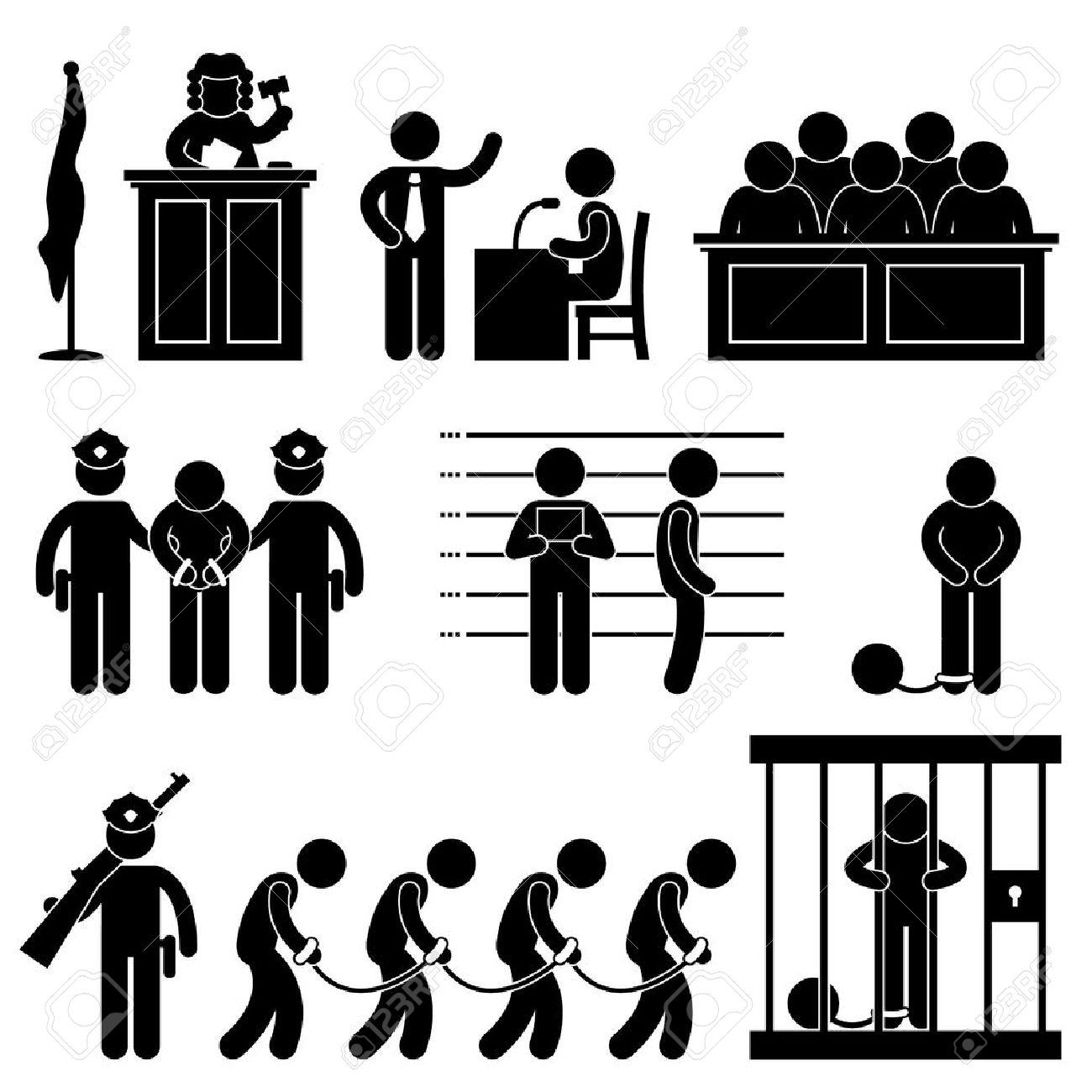 Court Judge Law Jail Prison Lawyer Jury Criminal Icon Symbol Sign Pictogram - 11965742