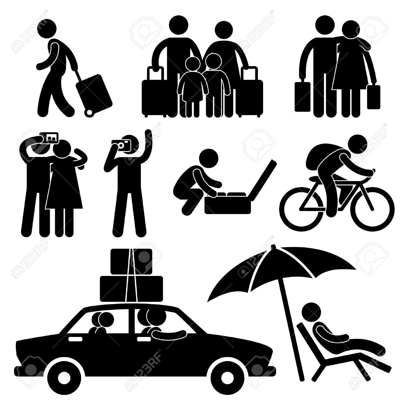 Family Couple Tourist Travel Vacation Trip Holiday Honeymoon Icon Symbol Sign Pictogram - 11965736