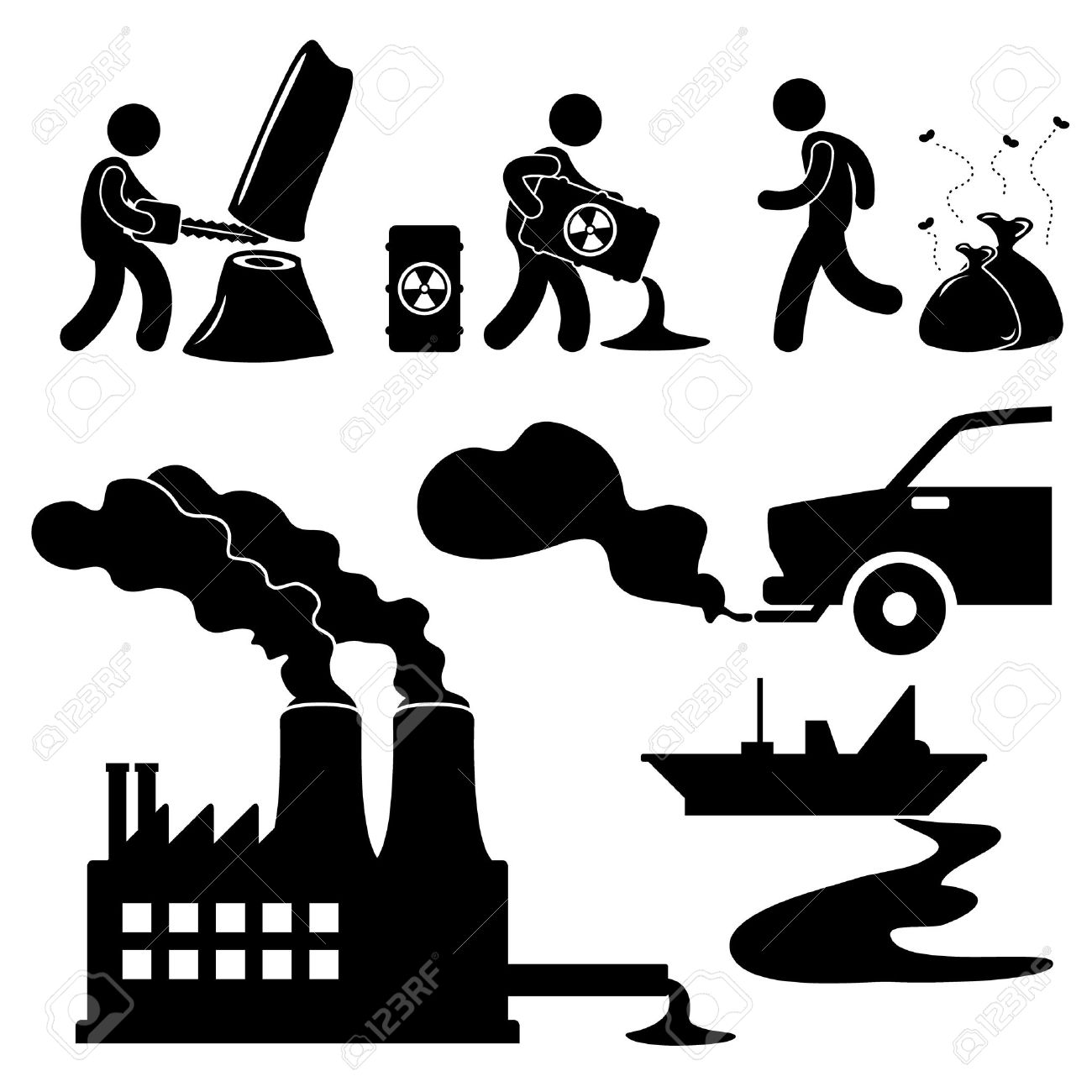 Global Warming Illegal Pollution Destroying Green Environment Concept Icon Symbol Sign Pictogram Stock Vector - 11965730