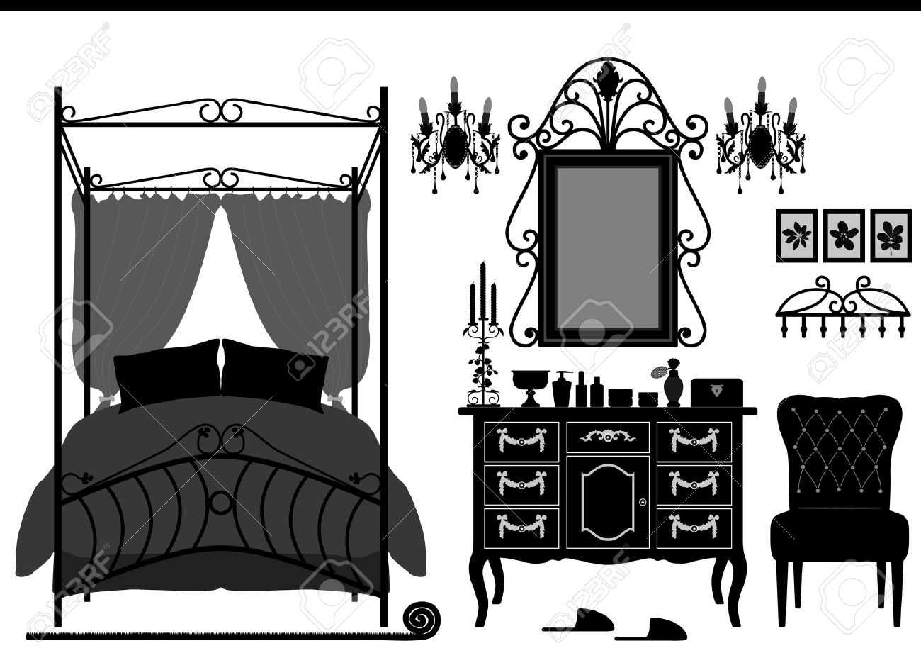 Royal Bedroom Room Old Antique Victorian Furniture Stock Vector   11965746