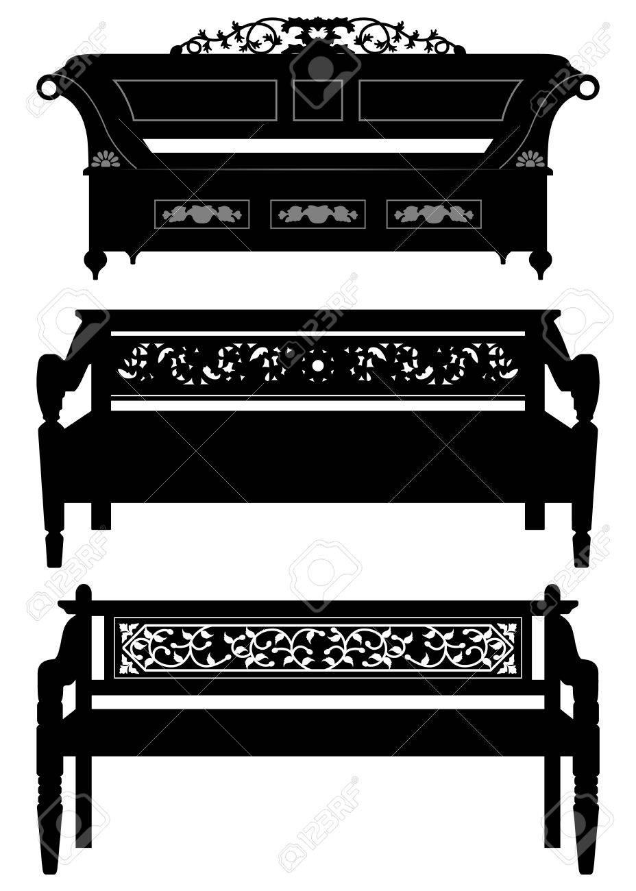 Asiatische möbel  Antike Asiatische Möbel Stuhl Bank Im Schattenbild Lizenzfrei ...