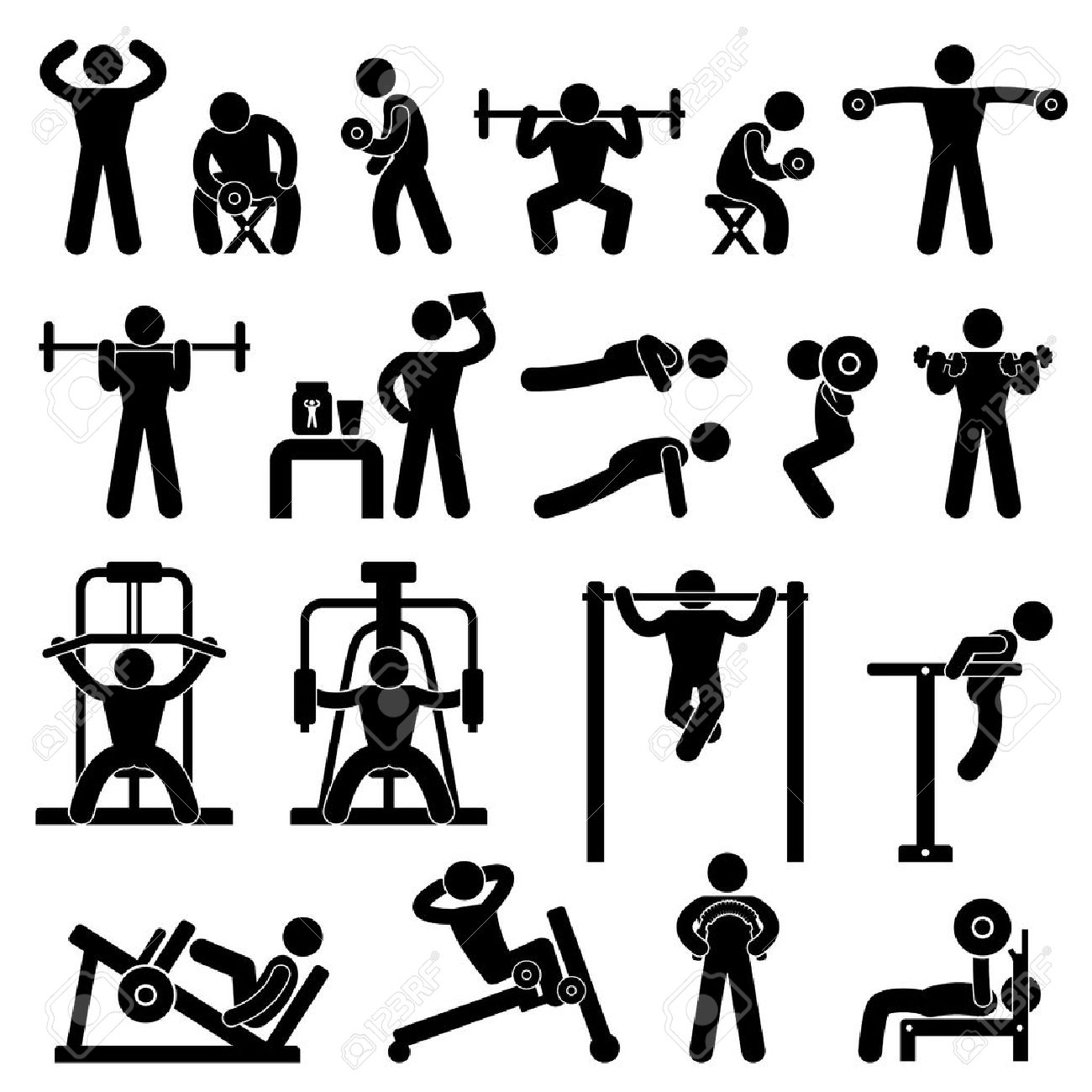 Gym Gymnasium Body Building Exercise Training Fitness Workout Stock Vector