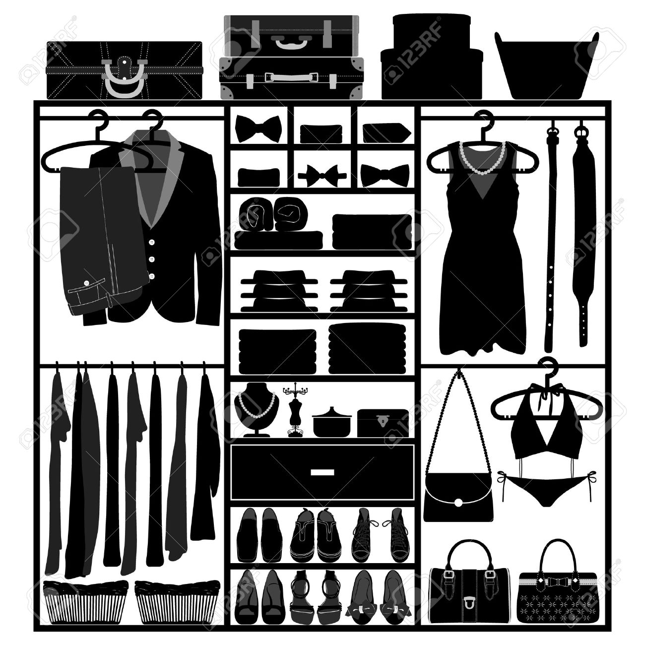 Closet Wardrobe Cupboard Cloth Accessories Man Woman Fashion Wear  Silhouette Stock Vector   14446310