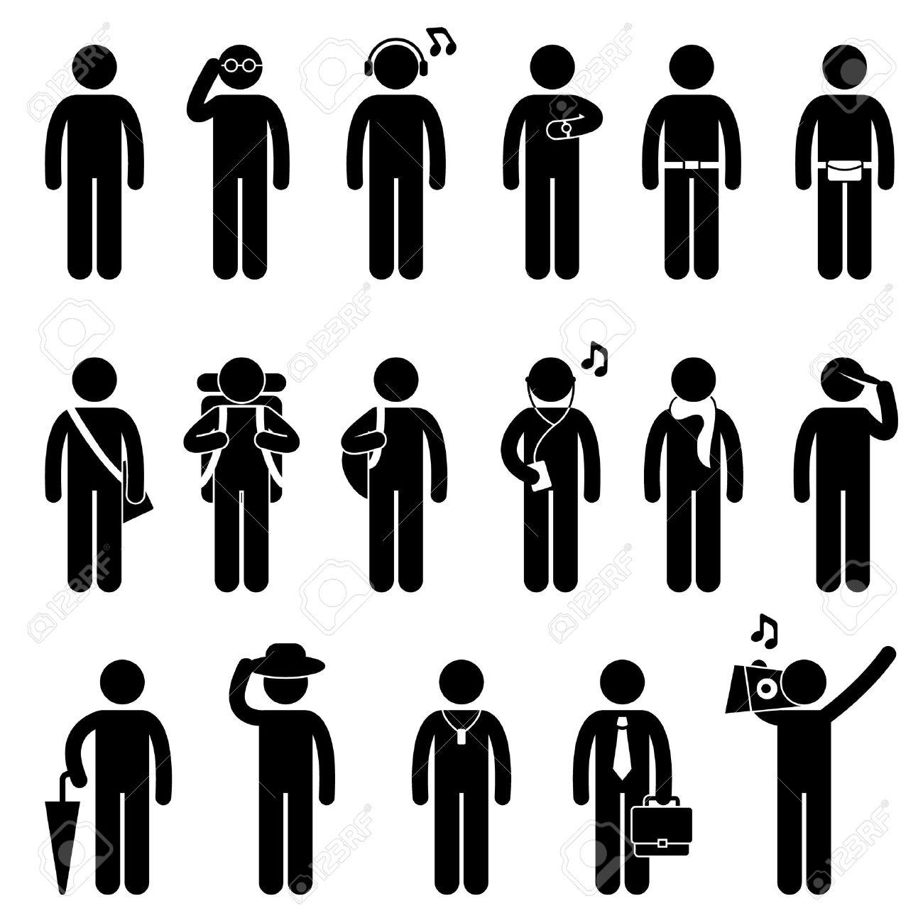 b152c4b99f4 People Man Male Fashion Wear Body Accessories Icon Symbol Sign Pictogram Stock  Vector - 14446304