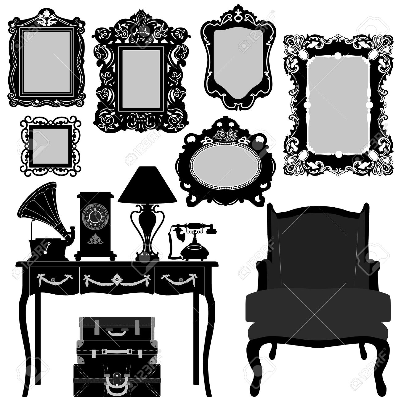 Antique Picture Frame Ornate Vintage Retro Museum Object Furniture Stock Vector