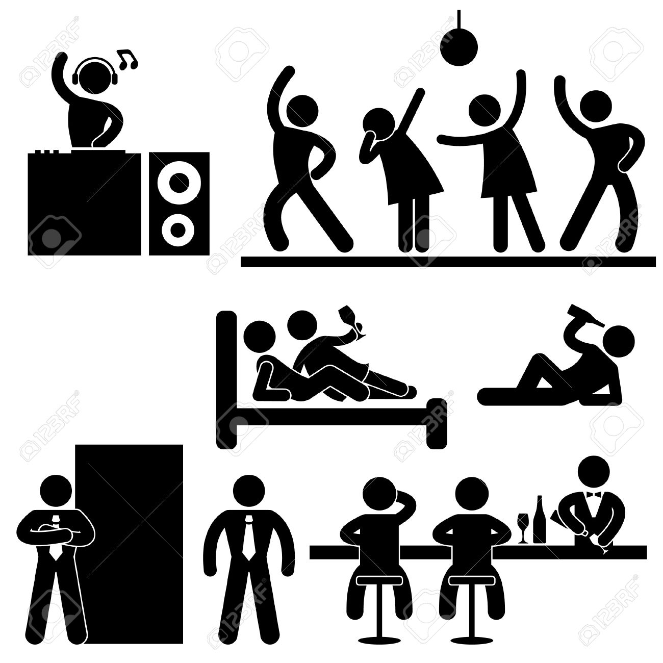 Disco Pub Night Club Bar Party Icon Symbol Sign Pictogram Stock Vector - 15209855