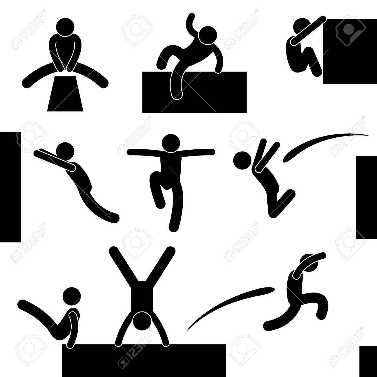 Parkour Man Jumping Climbing Leaping Acrobat Icon Symbol Sign Pictogram Stock Vector - 15209856