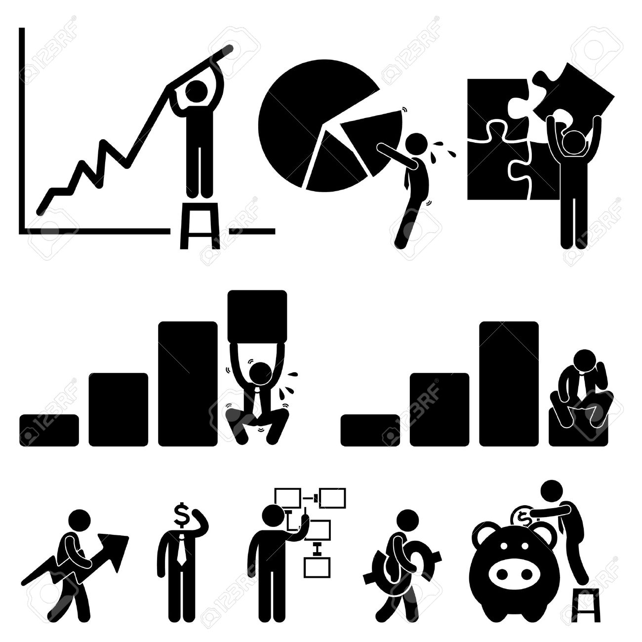 business finance chart employee worker businessman solution icon