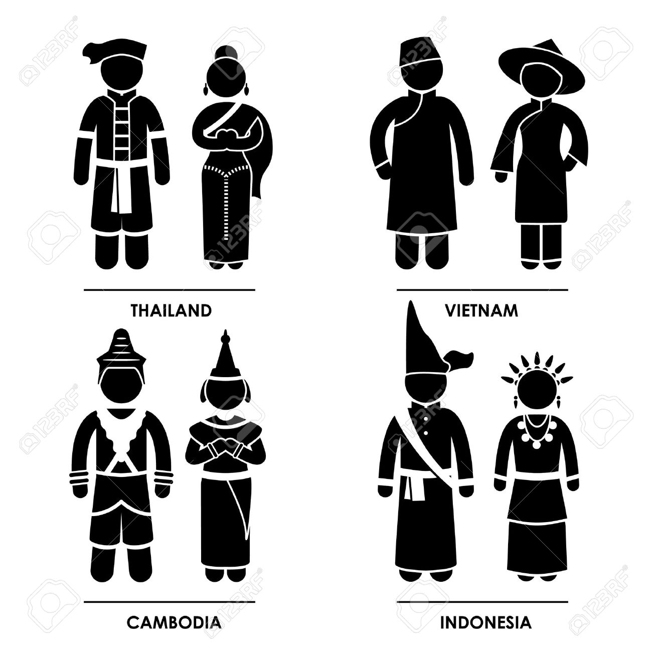 Southeast Asia - Thailand Vietnam Cambodia Indonesia Man Woman People National Traditional Costume Dress Clothing Icon Symbol Sign Pictogram Stock Vector - 15387272