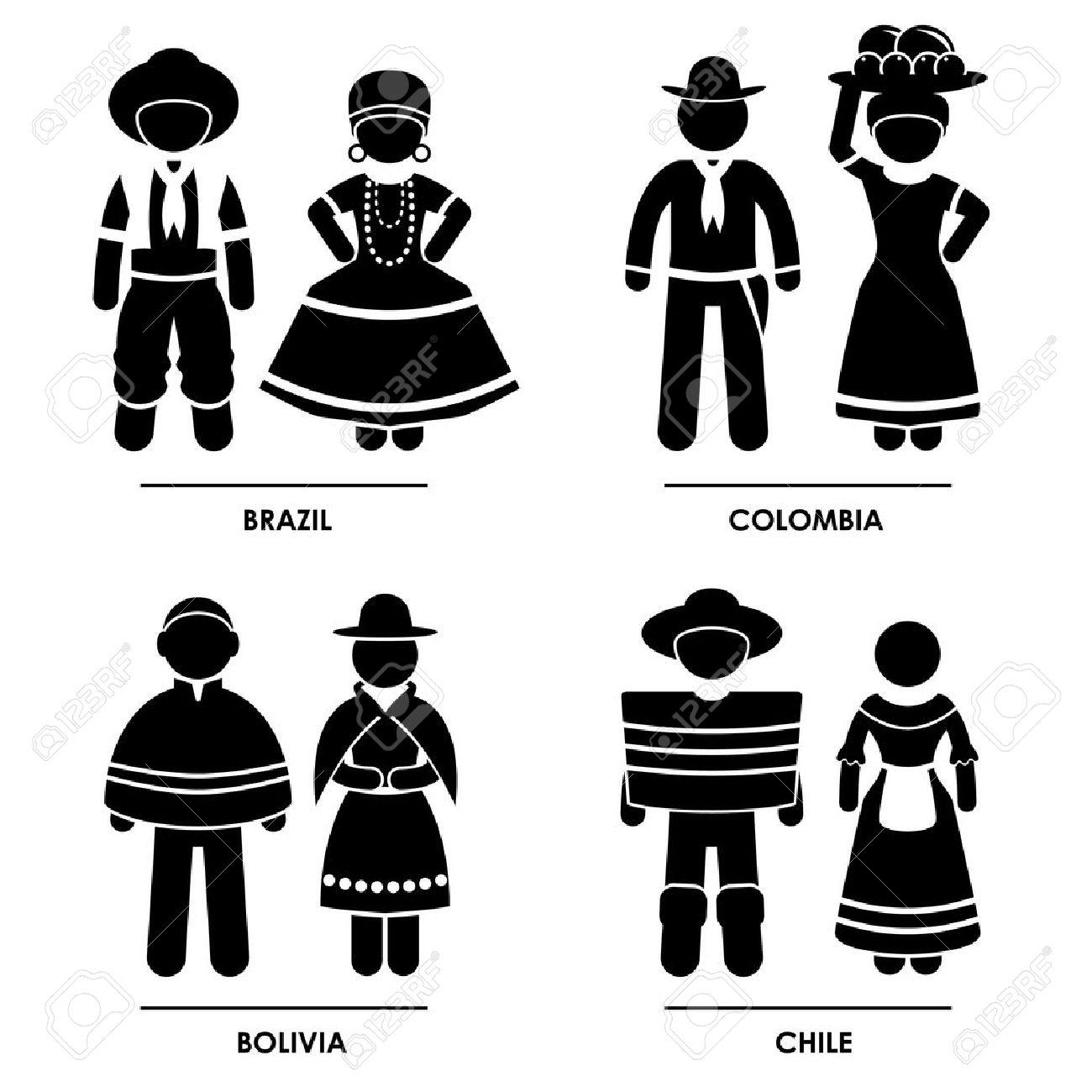 南アメリカ , ブラジル コロンビア ボリビア チリ男女性人民族の伝統的な衣装のドレス服アイコン シンボル記号ピクトグラム