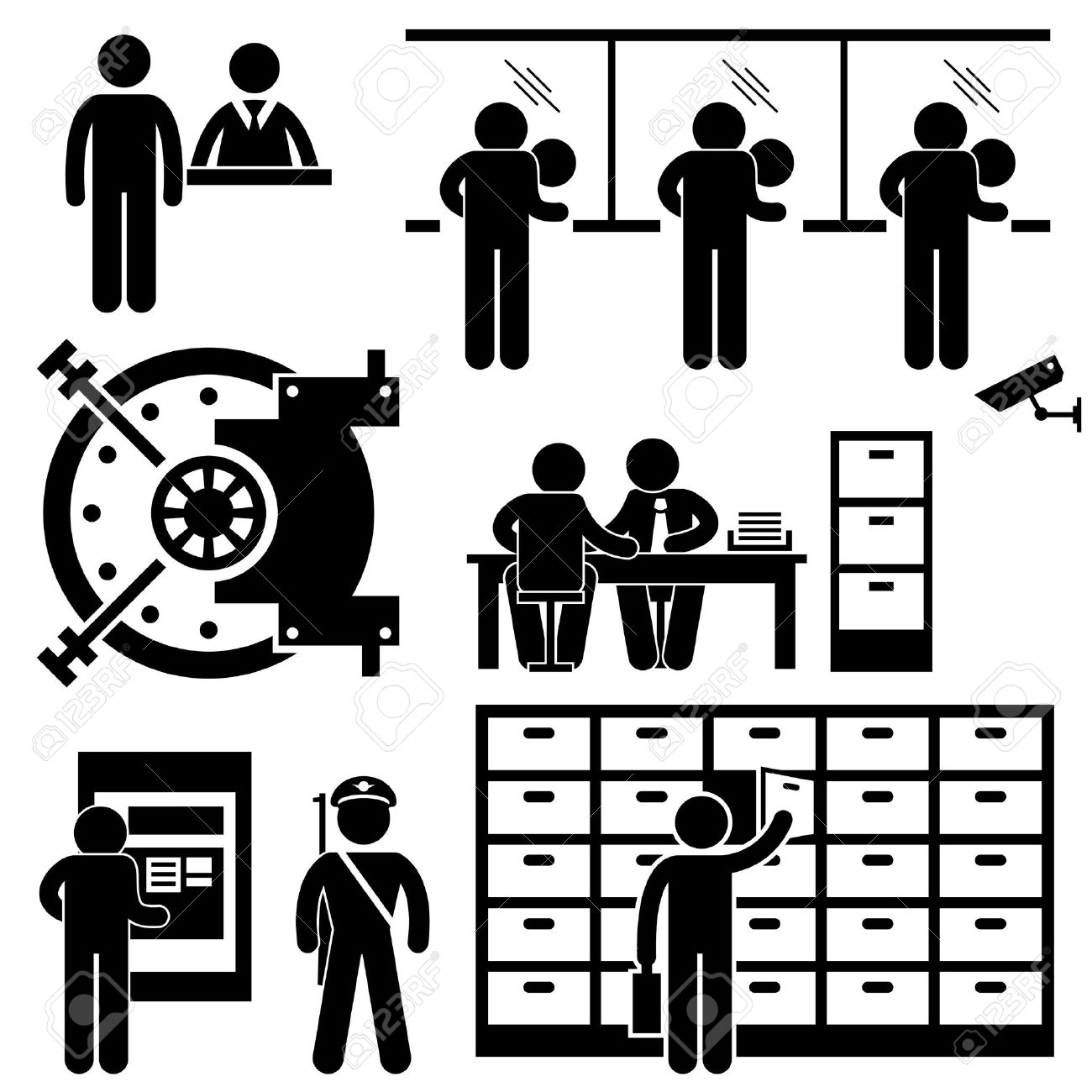 Bank Business Finance Worker Staff Agent Consultant Customer Security Stick Figure Pictogram Icon Stock Vector - 18452152