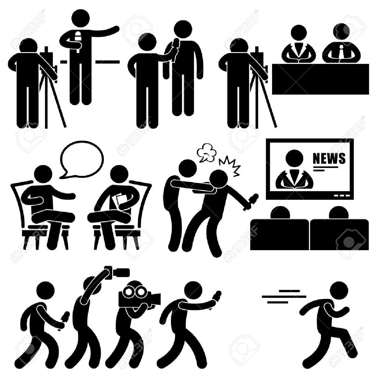 News Reporter Anchor Woman Newsroom Man Talk Show Host Stick Figure Pictogram Icon - 18452153