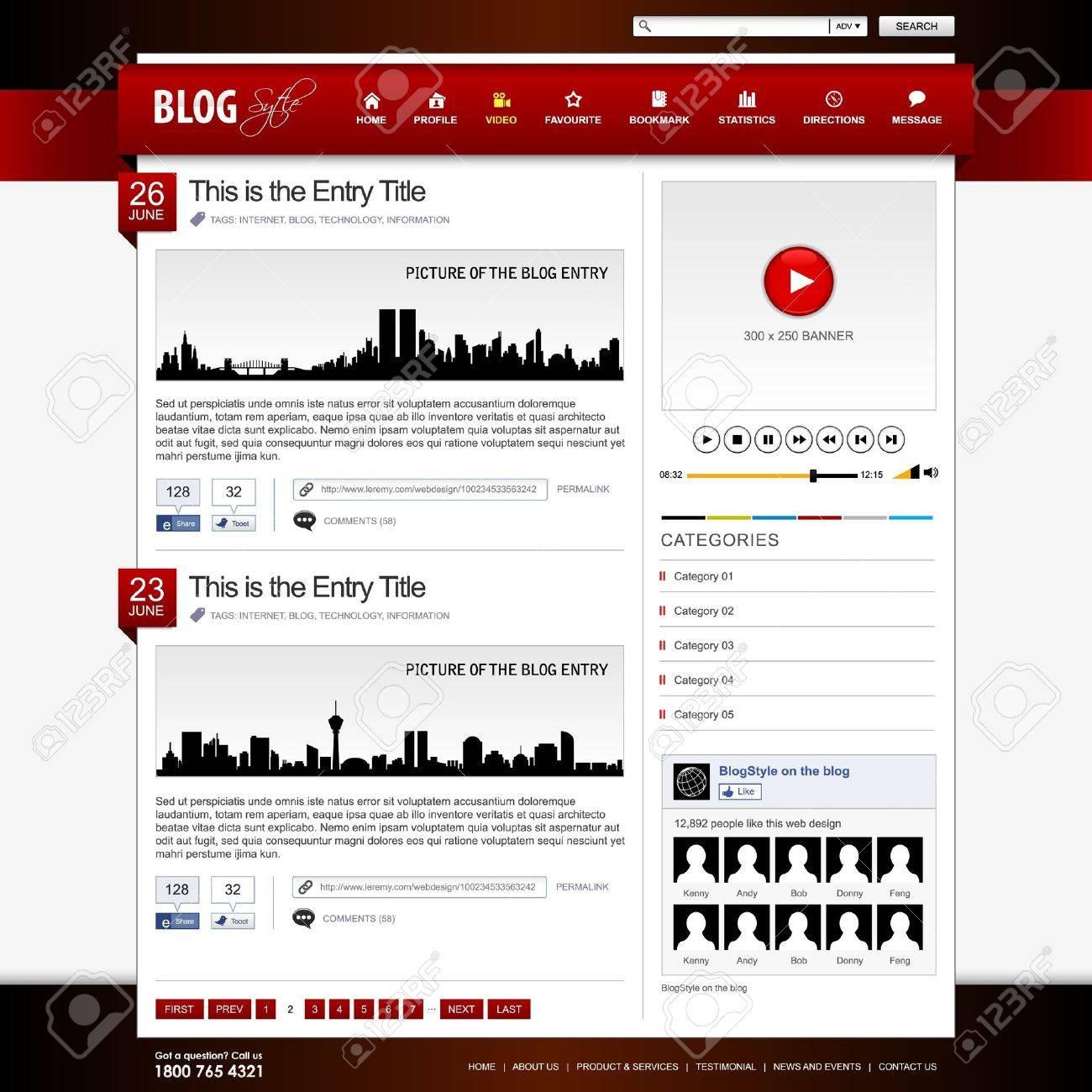 Web Design Website Element Red Template Stock Vector - 18812298