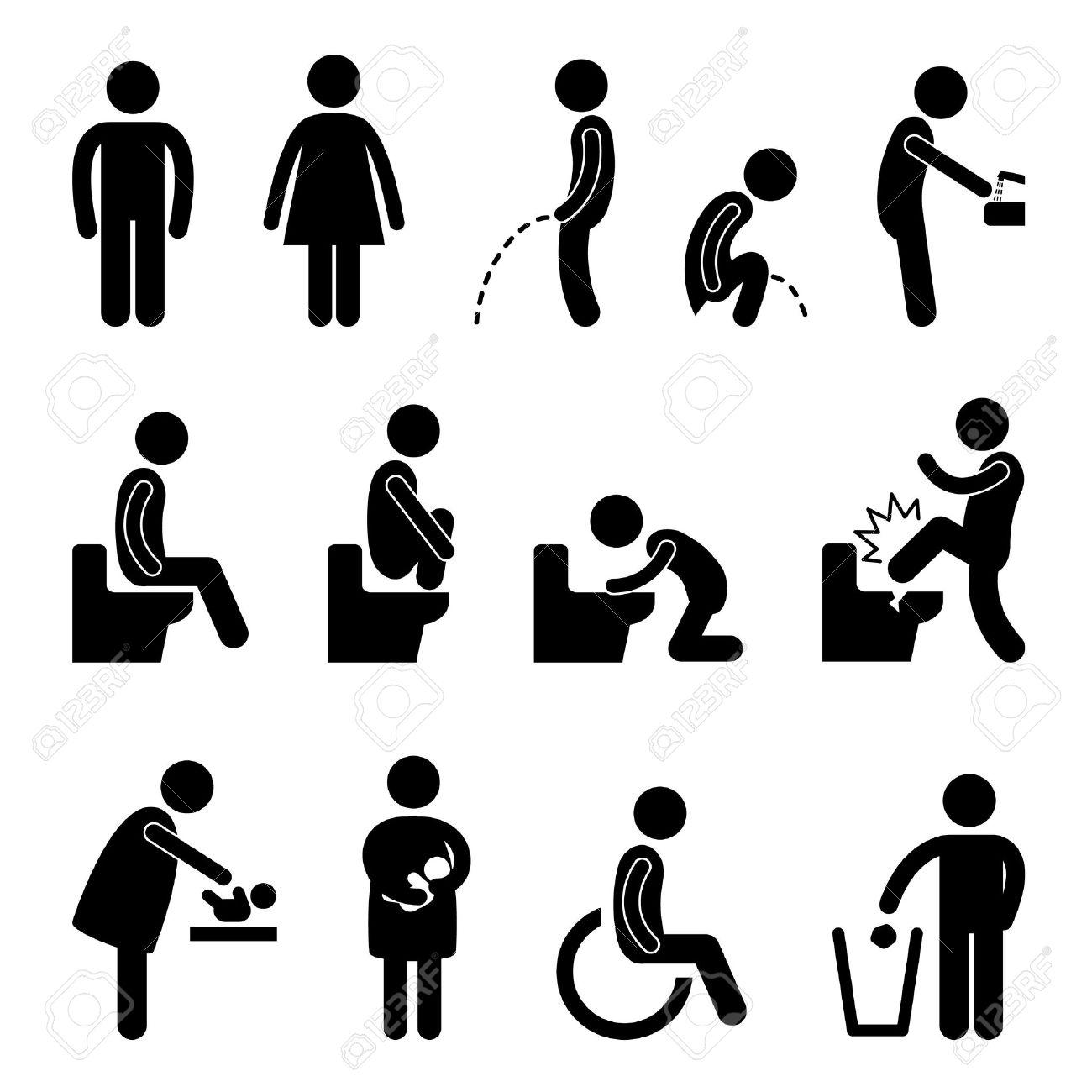 Toilettes salle de bains Homme Femme enceinte Handicap publique Connectez vous Symbole Icône pictogramme