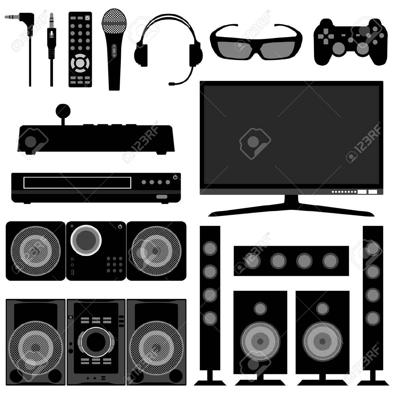 Audio Visual System Electronic Electrical Appliances for Living Room Stock  Vector   18811993Audio Visual System Electronic Electrical Appliances For Living  . Living Room Appliances. Home Design Ideas