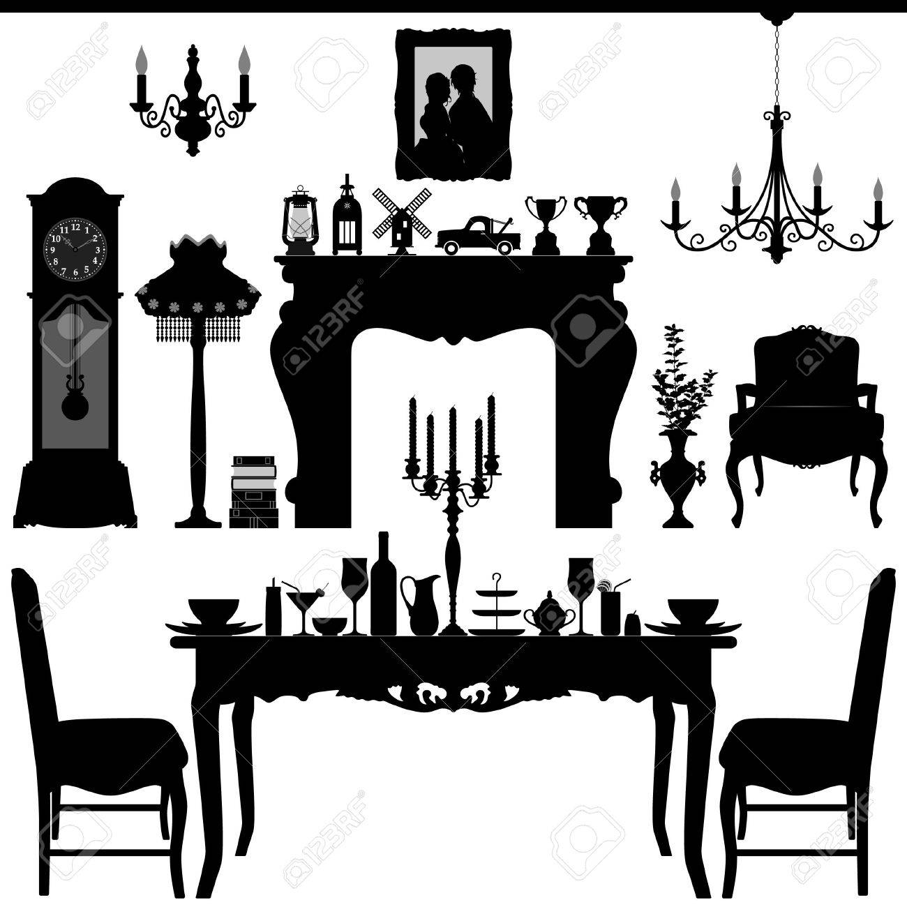 Antique chair silhouette - Dining Area Traditional Old Antique Furniture Interior Design Stock Vector 18811999