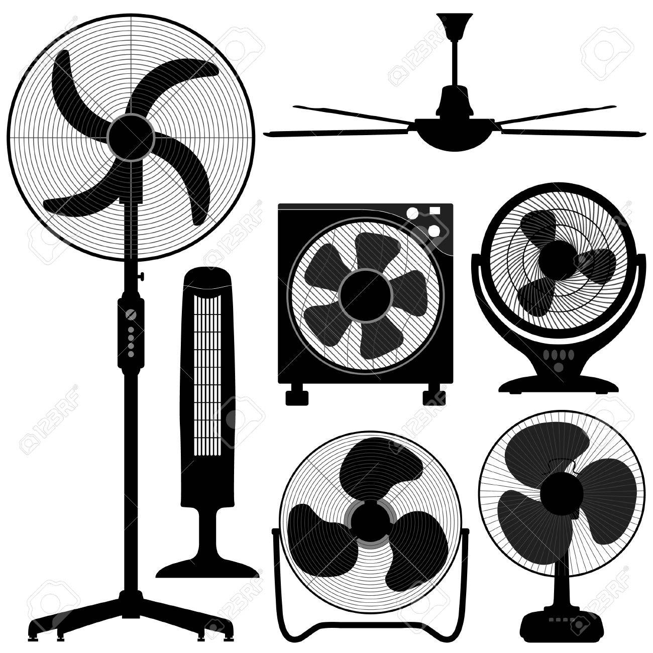 Standing Table Ceiling Fan Design Stock Vector - 18809685