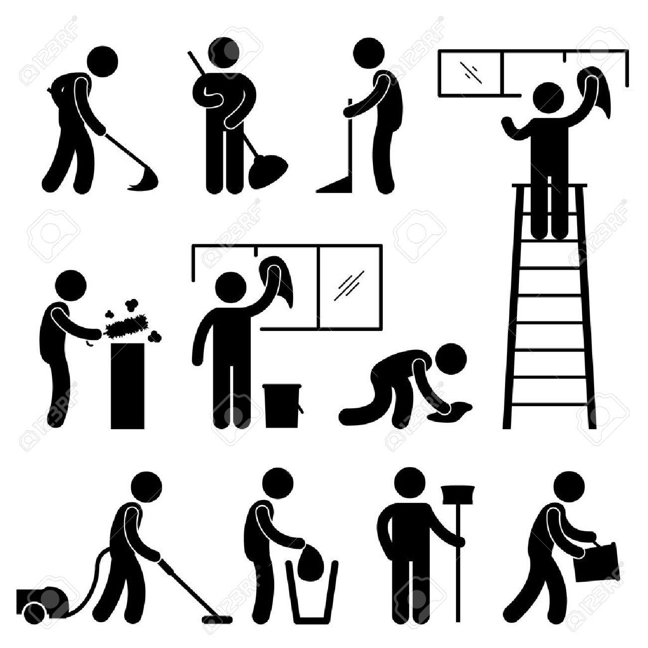 Man People Cleaning Washing Wiping Sweeping Vacuum Cleaner Worker Pictogram Icon Symbol Sign - 18797484