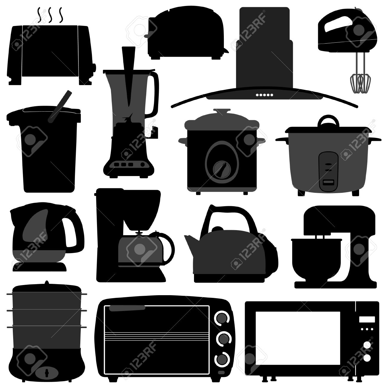 Uncategorized Electrical Kitchen Appliances kitchen appliances electronic electrical equipment tool royalty stock vector 18809650
