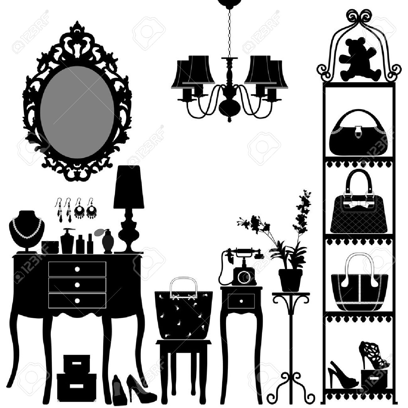 Captivating Woman Cosmetic Accessories Room Furniture Stock Vector   18811989
