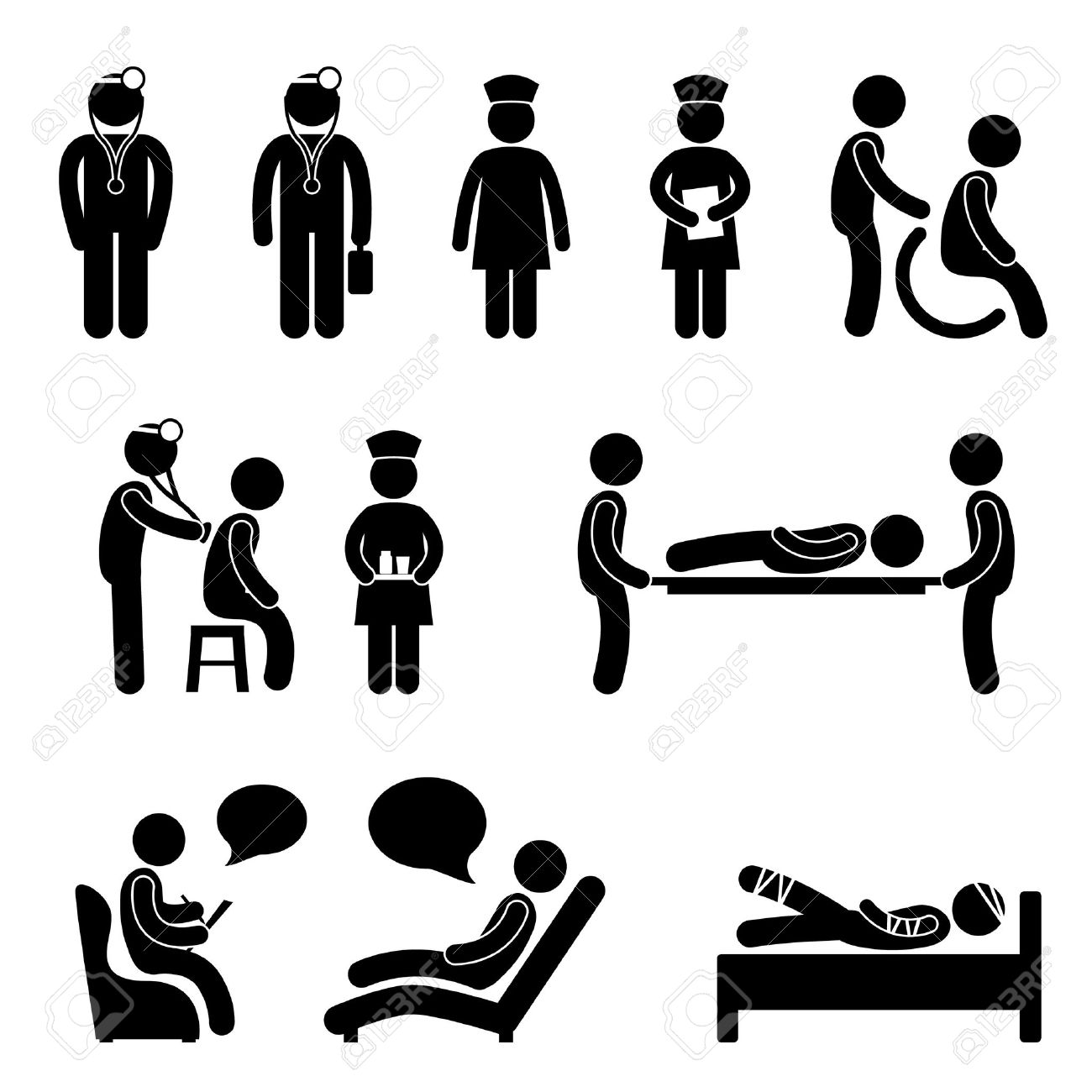 Doctor Nurse Hospital Medical Psychiatrist Patient Sick Icon Sign Symbol Pictogram Stock Vector - 18797475