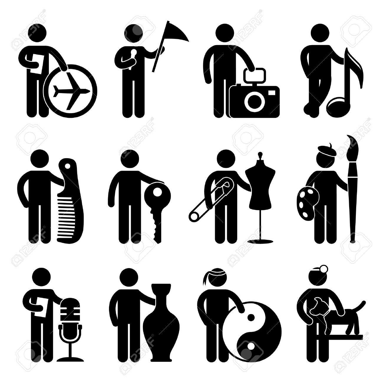 Tour Agent Guide Photographer Musician Barber Locksmith Tailor Painter DJ Martial Art Guru Veterinarian Animal Doctor Job Occupation Sign Pictogram Symbol Icon Stock Vector - 18797473