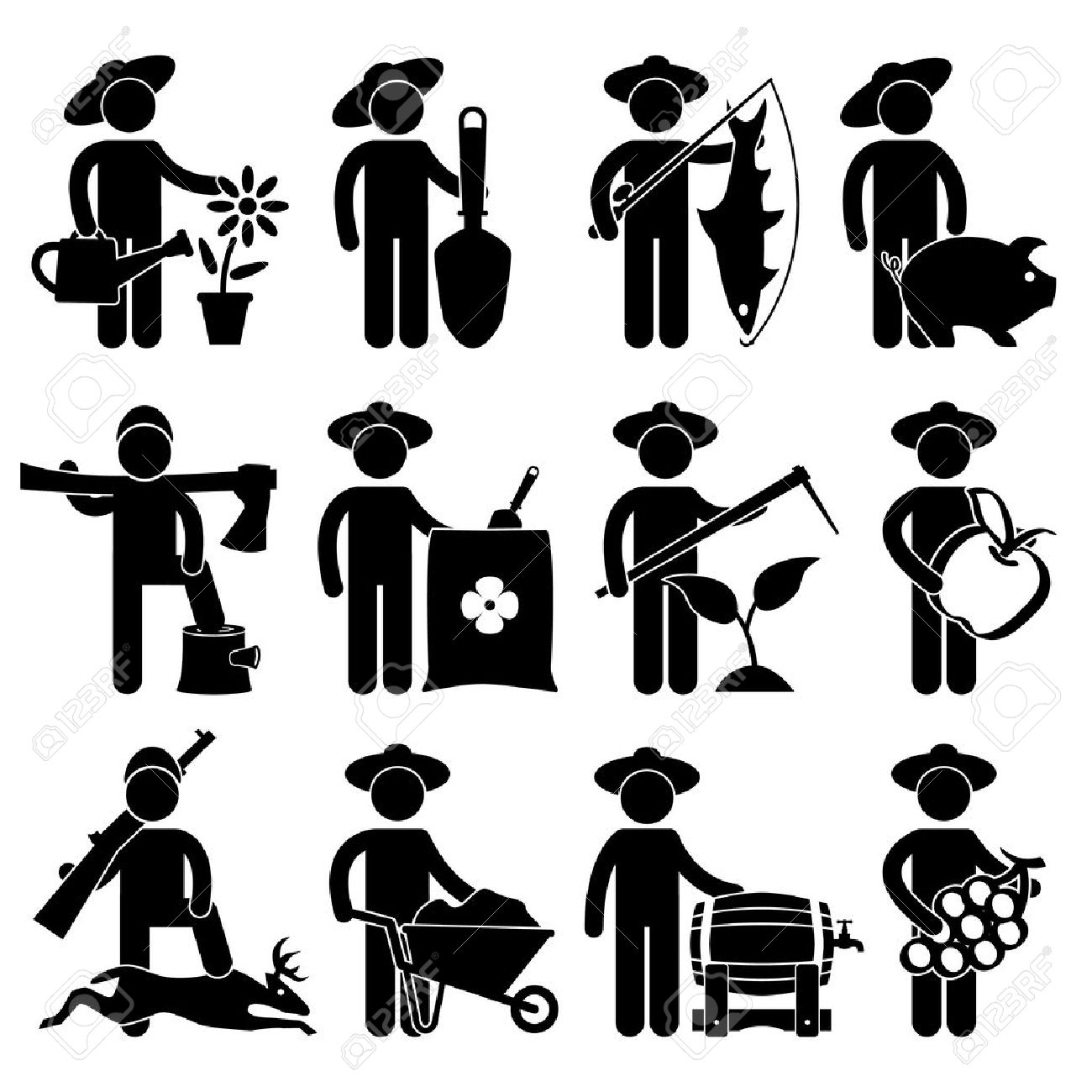 farmer gardener fisherman poultry lumberjack hunter village job farmer gardener fisherman poultry lumberjack hunter village job occupation sign pictogram symbol icon stock vector