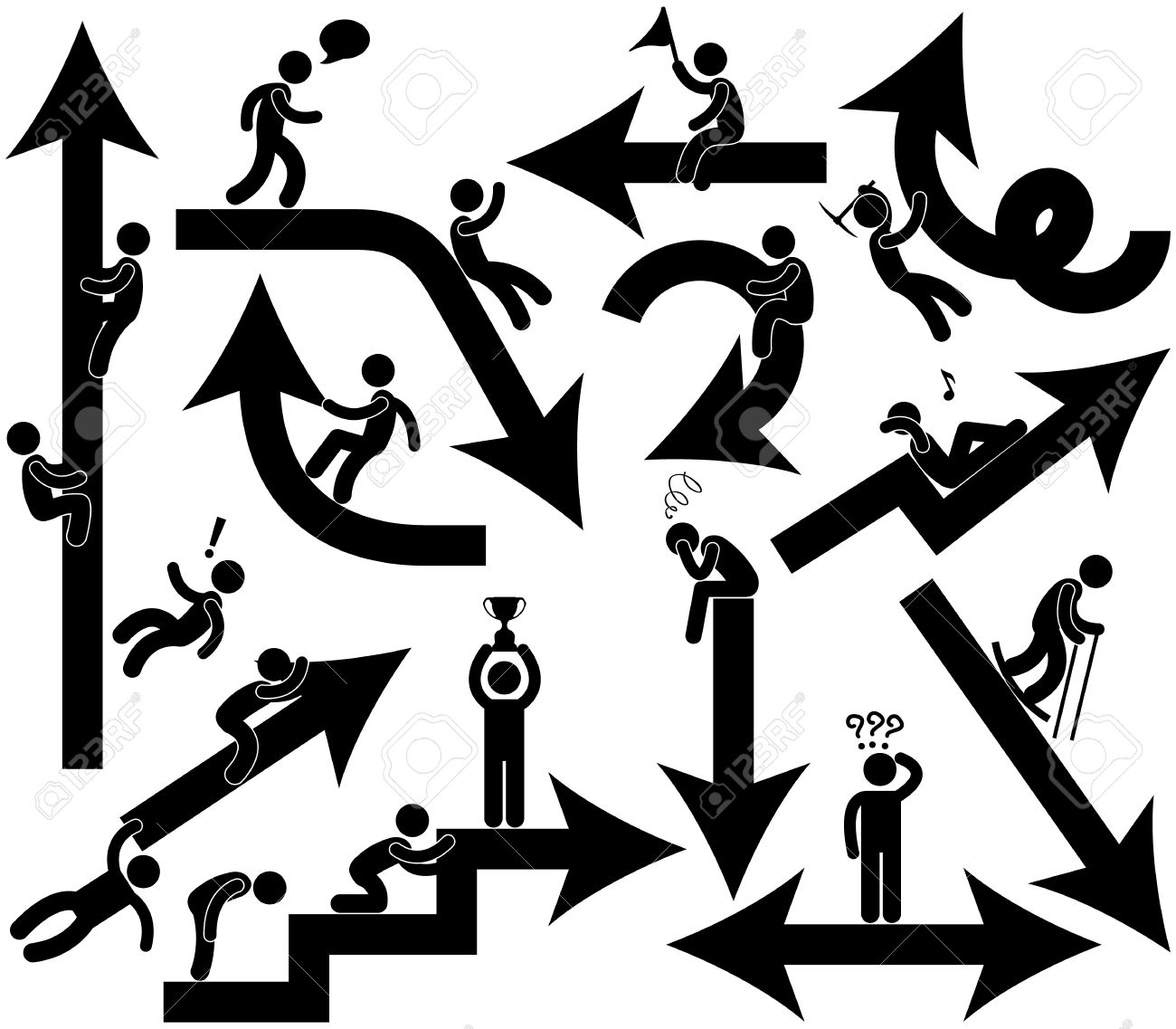 Business People Emotion Arrow Sign Pictogram Symbol Icon - 18812307