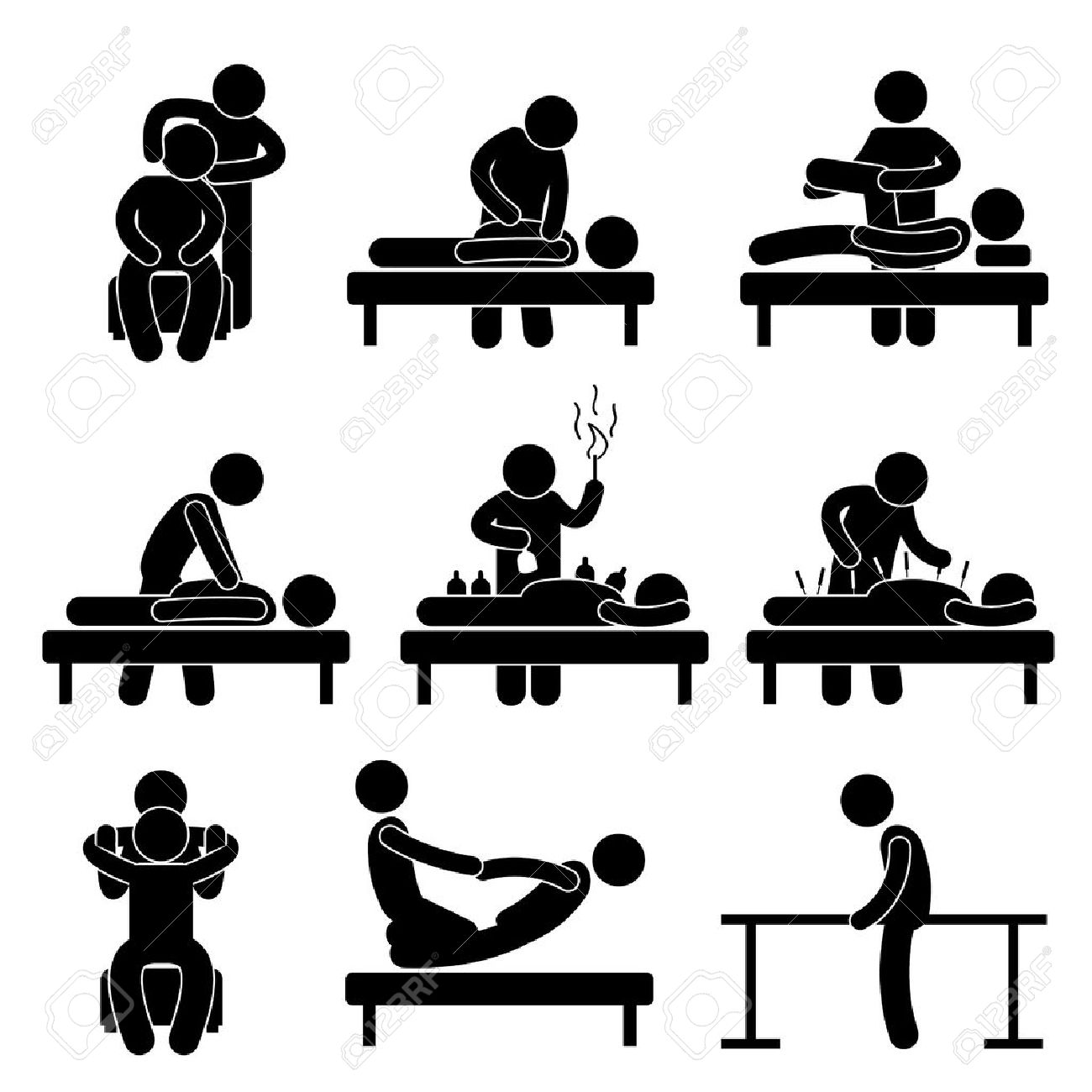Chiropractic Physiotherapy Acupuncture Massage Rehabilitation Health Medical Treatment Icon Sign Symbol Pictogram Standard-Bild - 18797521