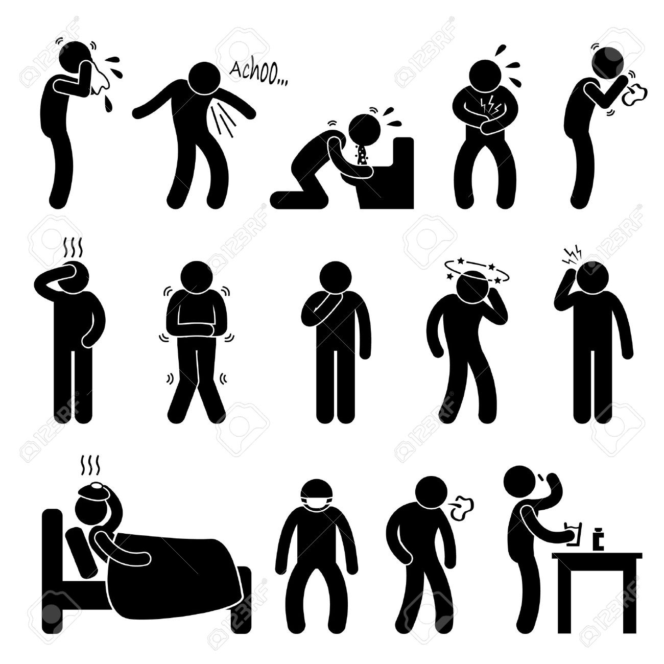 Sick ill Fever Flu Cold Sneeze Cough Vomit Disease Stick Figure Pictogram Icon Stock Vector - 18797522