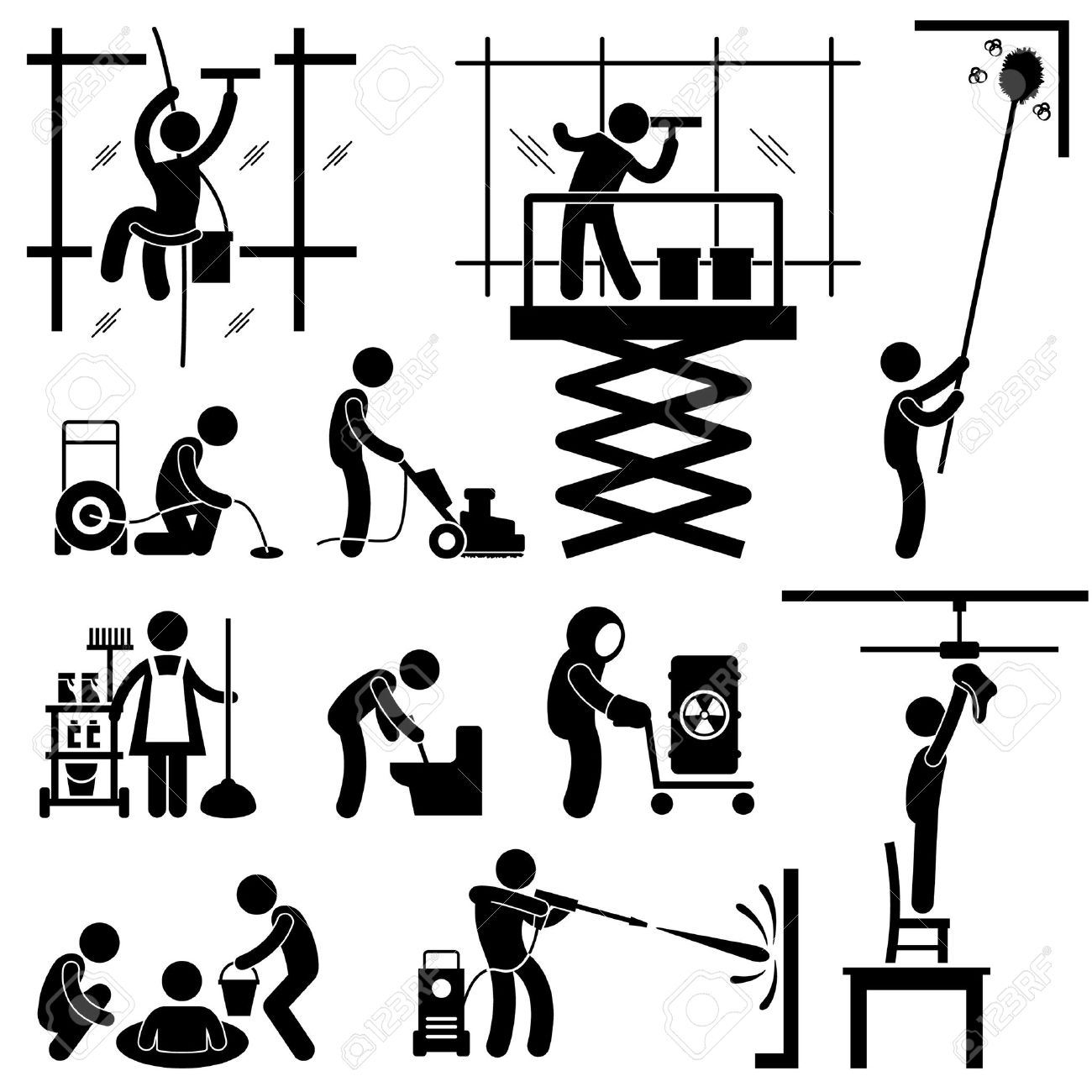 6 426 cleaning service stock illustrations cliparts and royalty cleaning service industrial cleaning services risky cleaner job working stick figure pictogram icon