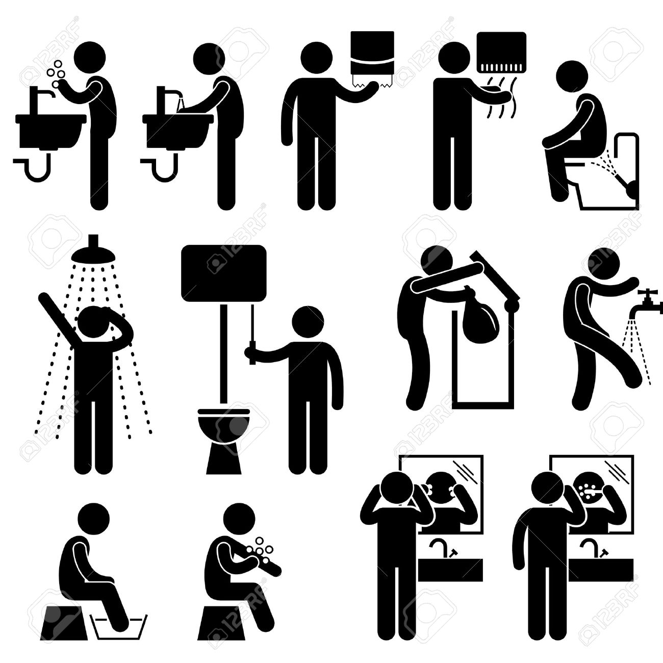 Personal Hygiene Washing Hand Face Shower Bath Brushing Teeth Toilet Bathroom Stick Figure Pictogram Icon Stock Vector - 18809498