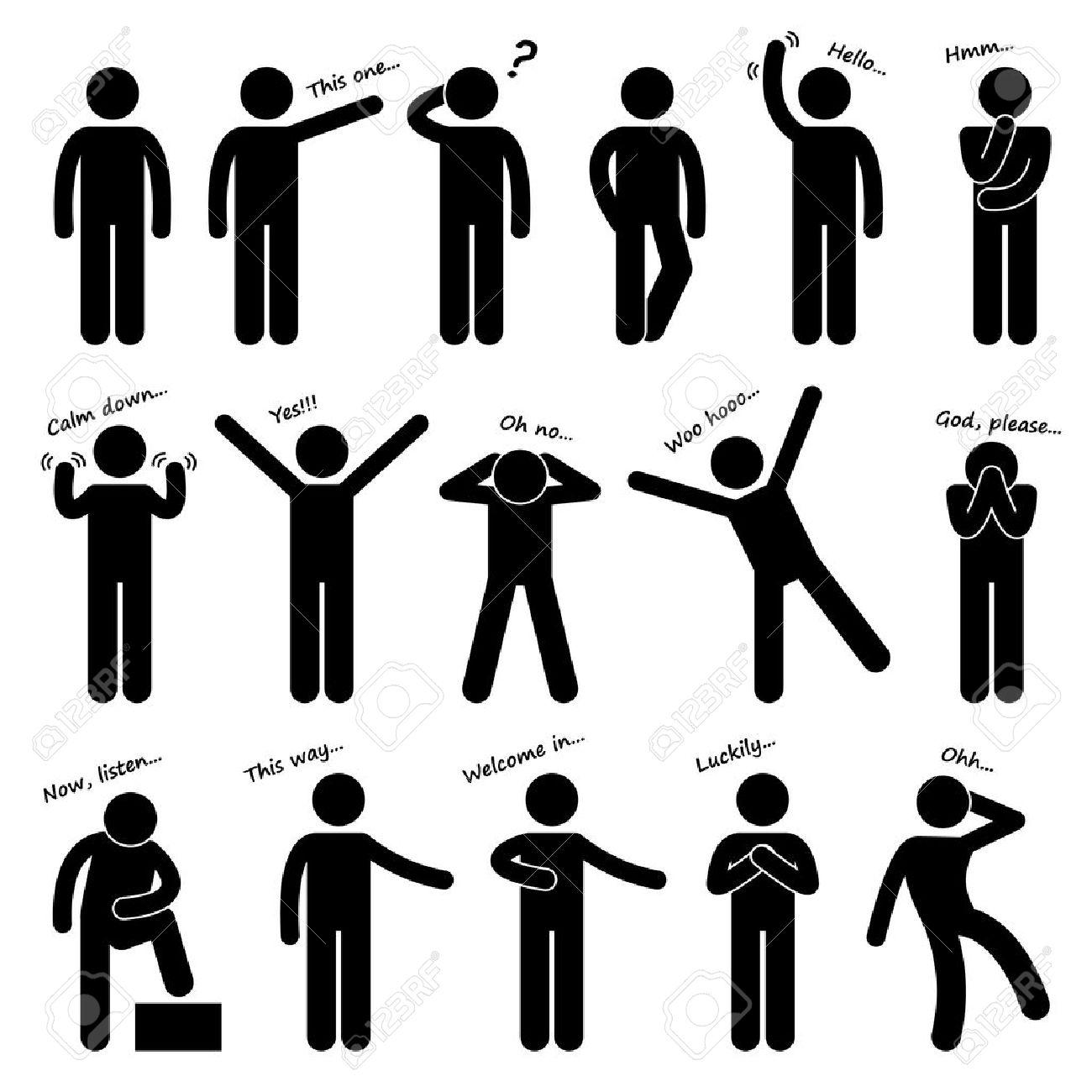 Man People Person Basic Body Language Posture Stick Figure Pictogram Icon - 18911138