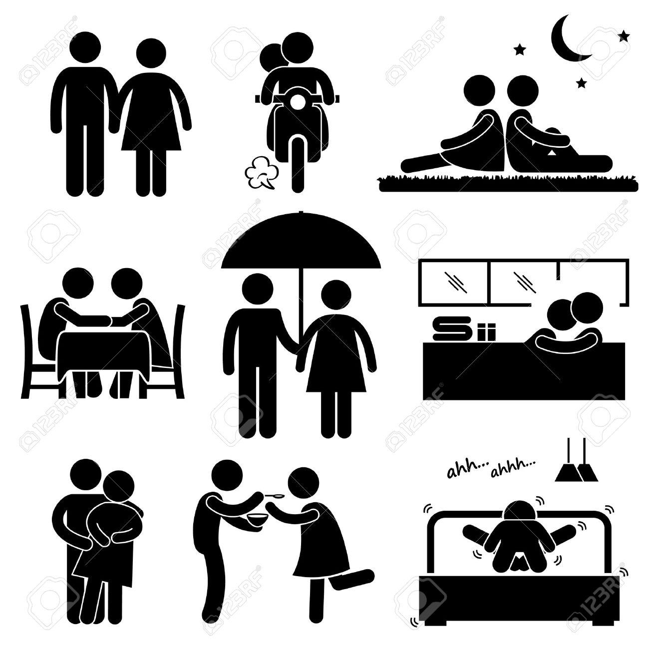 Lover Couple Boyfriend Girlfriend Sweetheart Relationship Activity Stick Figure Pictogram Icon Stock Vector - 19686422