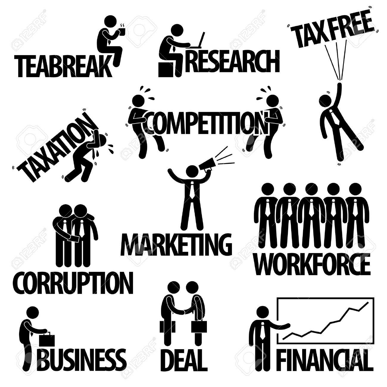 Business Finance Businessman Entrepreneur Employee Worker Team Text Word Stick Figure Pictogram Icon Stock Vector - 19686425