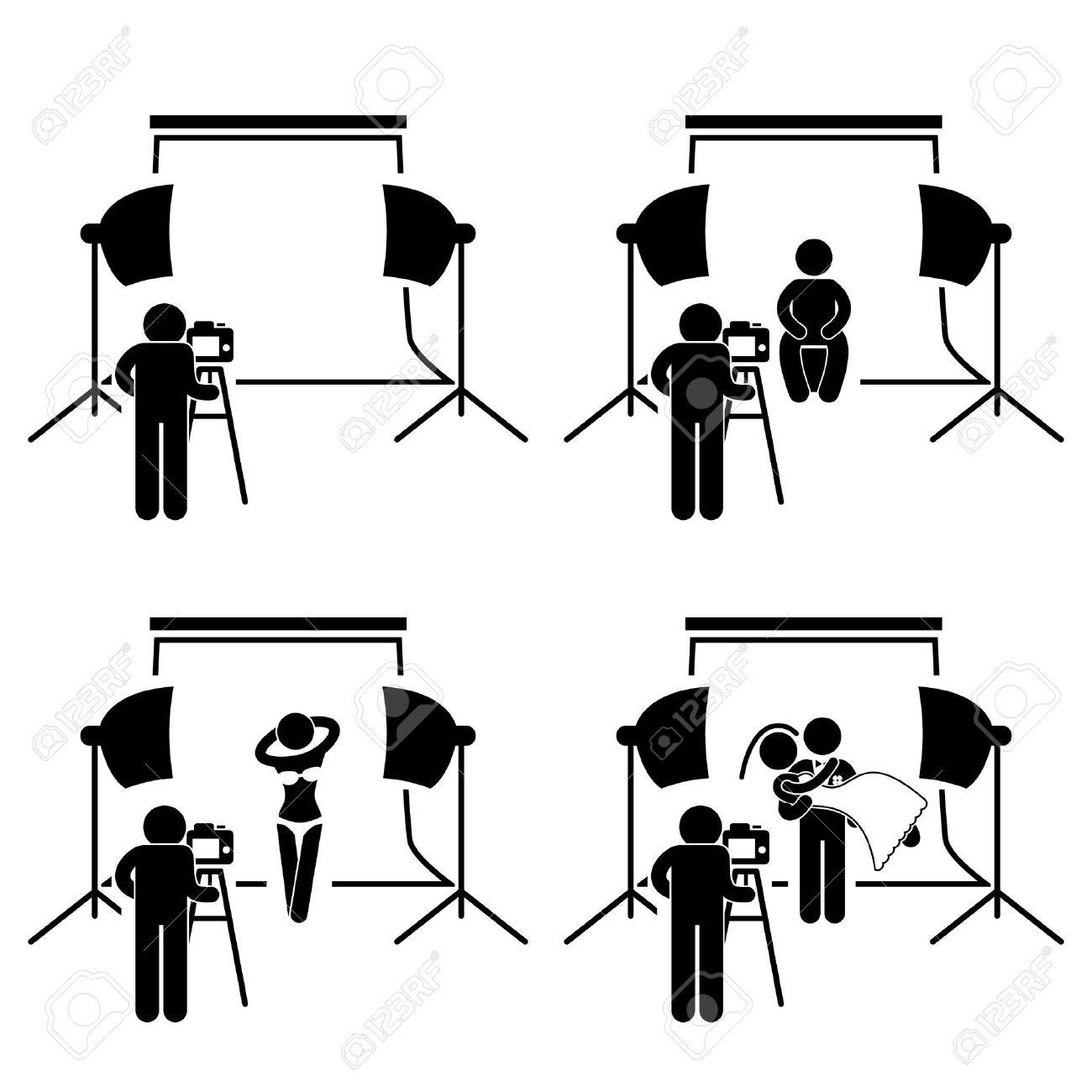 Photographer Studio Photography Shoot Stick Figure Pictogram Icon Stock Vector - 20283650