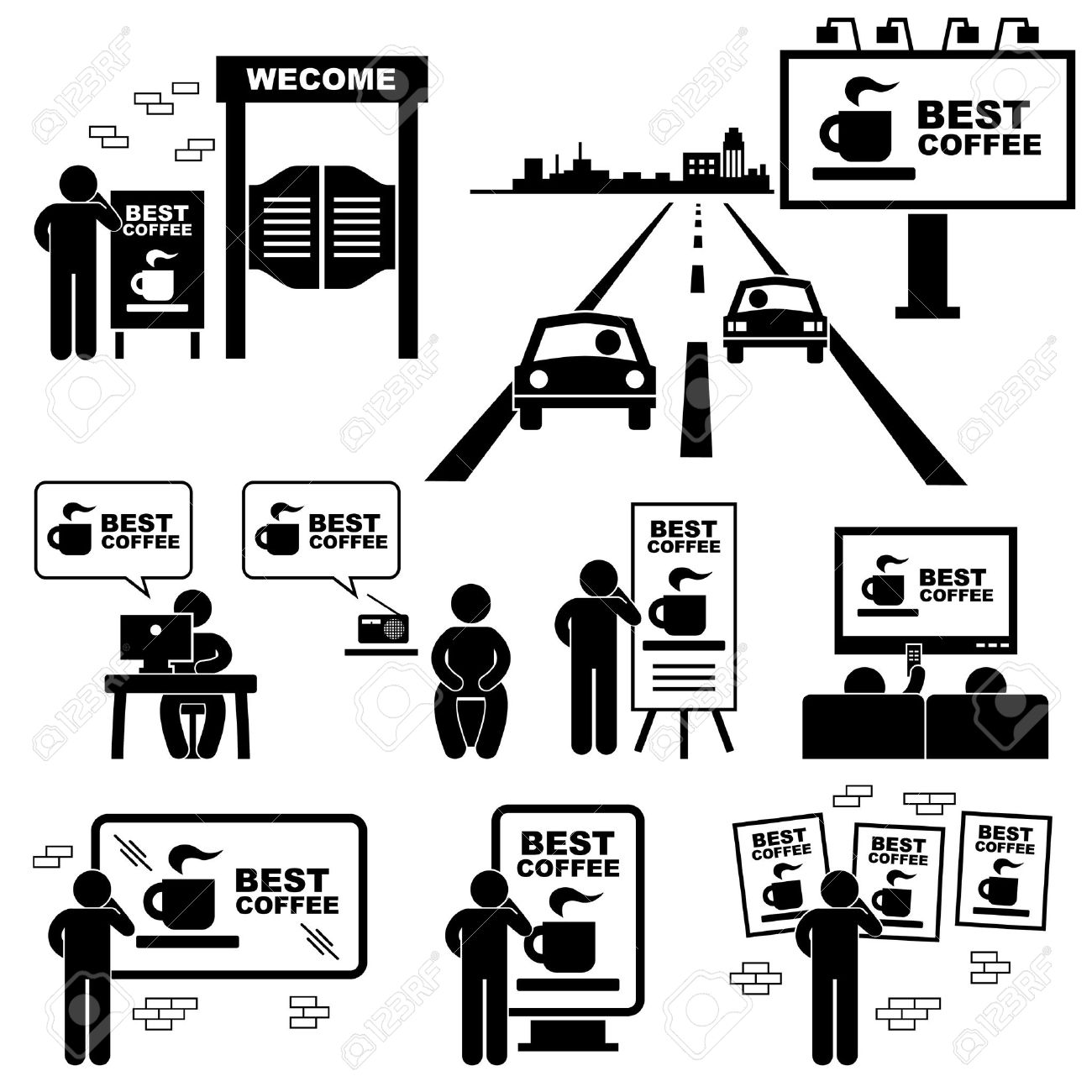 Advertisement Board Billboard Marketing Frame Stick Figure Pictogram Icon Stock Vector - 20283656
