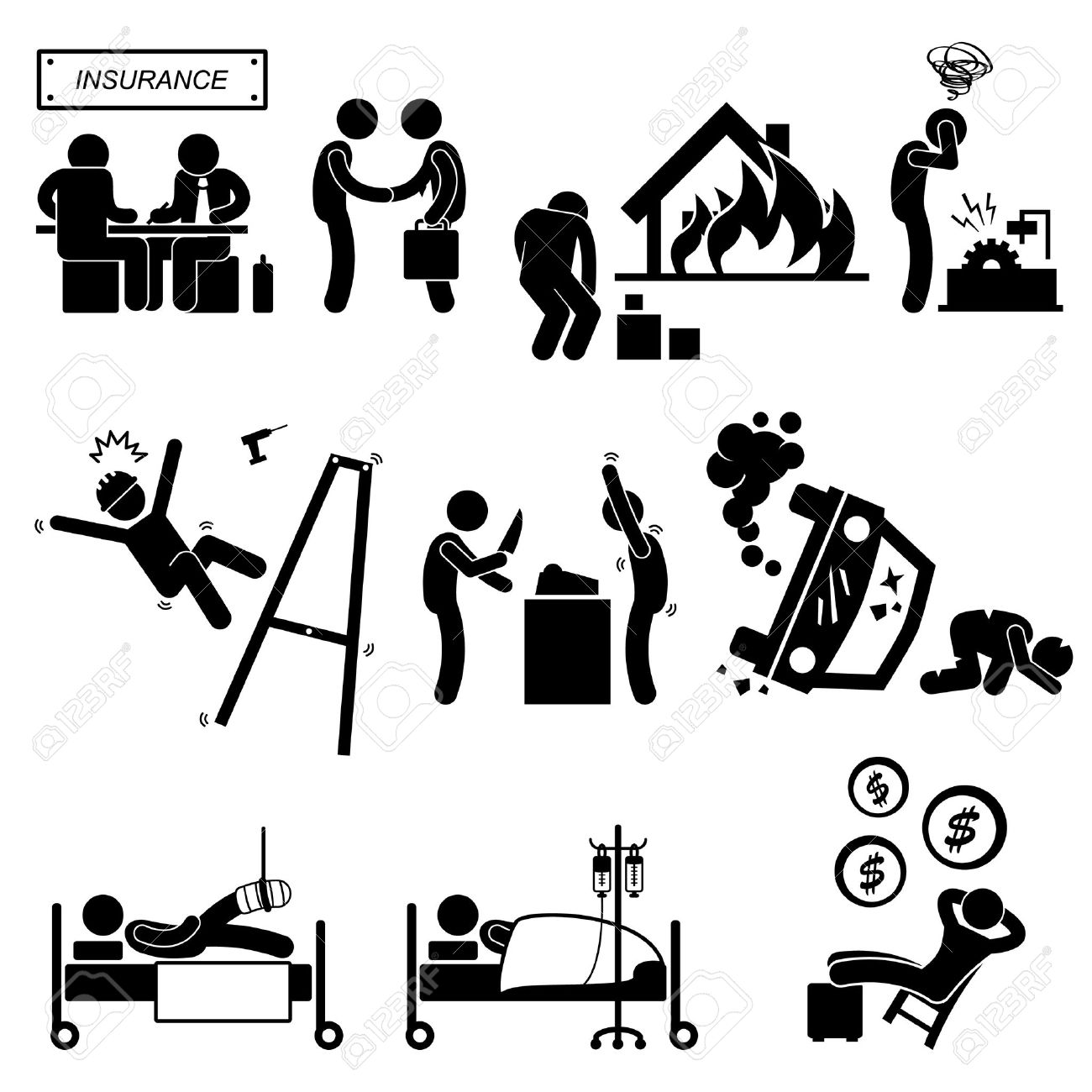 Insurance Agent Property Accident Robbery Medical Coverage Relieve Stick Figure Pictogram Icon - 23205839
