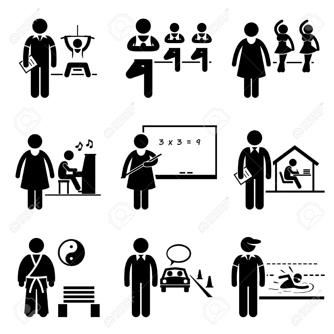 Coach Instructor Trainer Teacher Jobs Occupations Careers - Gym, Yoga, Dancing, Music, School Teacher, Home Tutor, Martial Arts, Driving, Swimming - Stick Figure Pictogram Stock Vector - 24227343