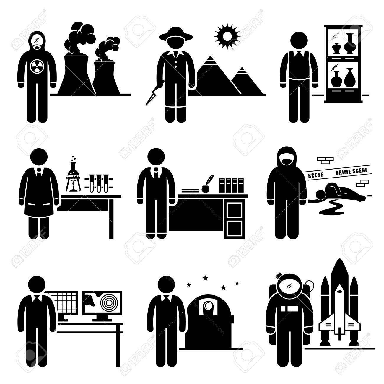 Scientist Professor Jobs Occupations Careers - Nuclear, Archaeologists, Museum Curator, Chemist, Historian, Forensic, Meteorologist, Astronomer, Astronaut - Stick Figure Pictogram Stock Vector - 24227342