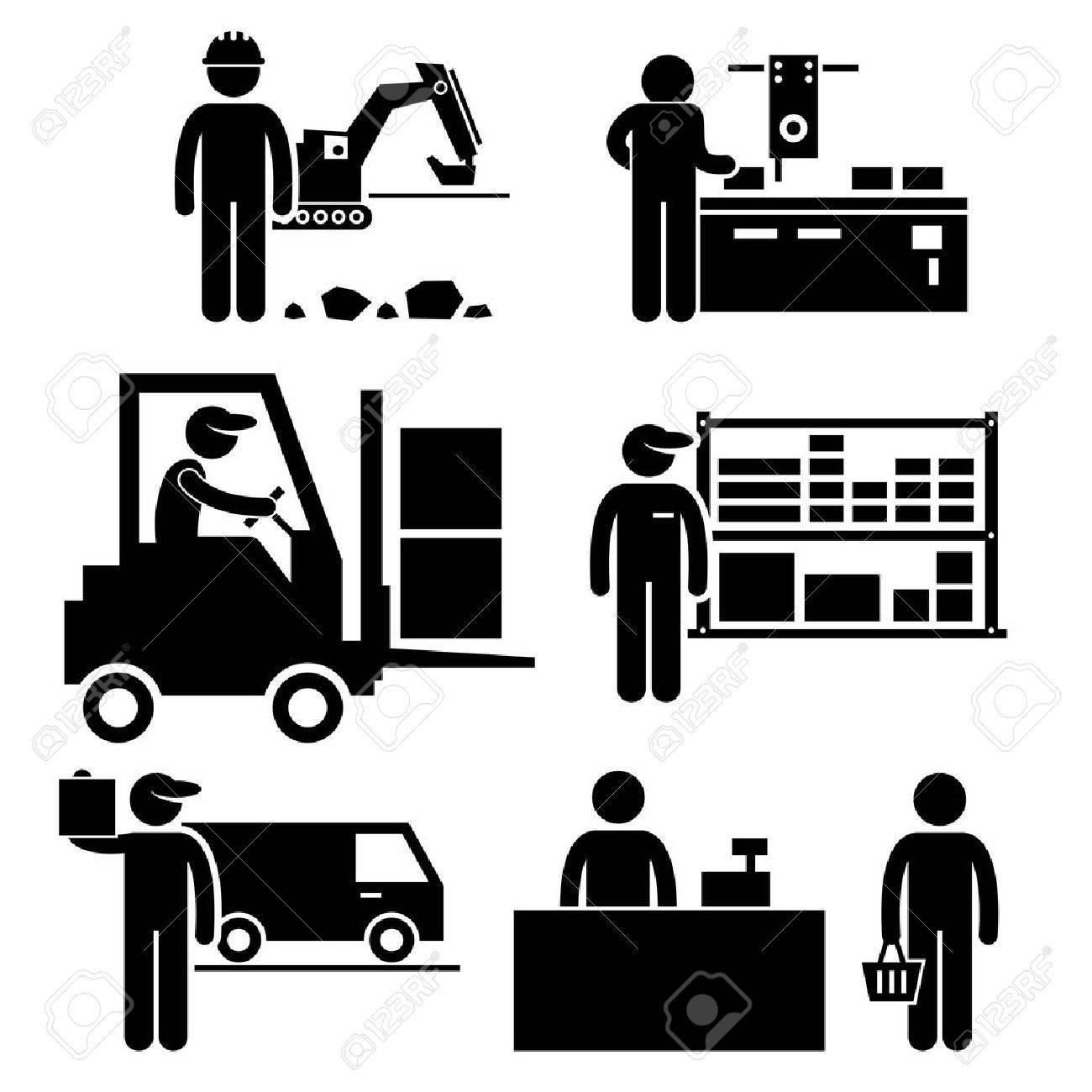 Business Ecosystem between Manufacturer, Distributor, Wholesaler, Retailer, and Consumer Stick Figure Pictogram Icon Stock Vector - 24911382