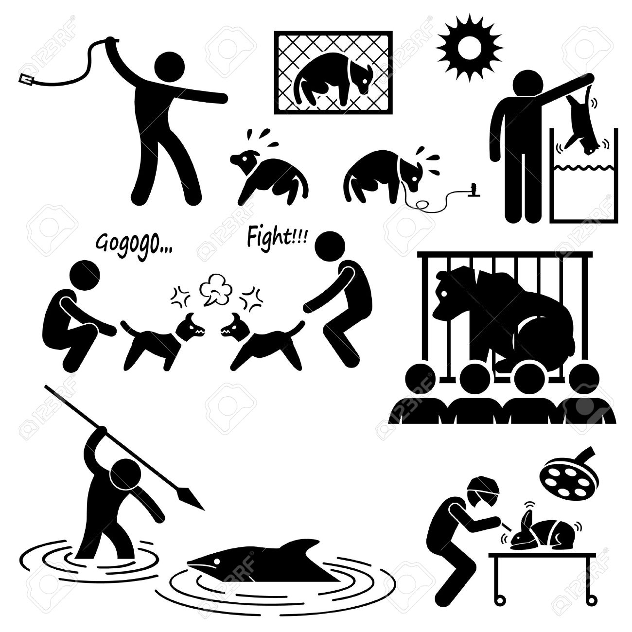 Animal Cruelty Abuse by Human Stick Figure Pictogram Icon Stock Vector - 26999403