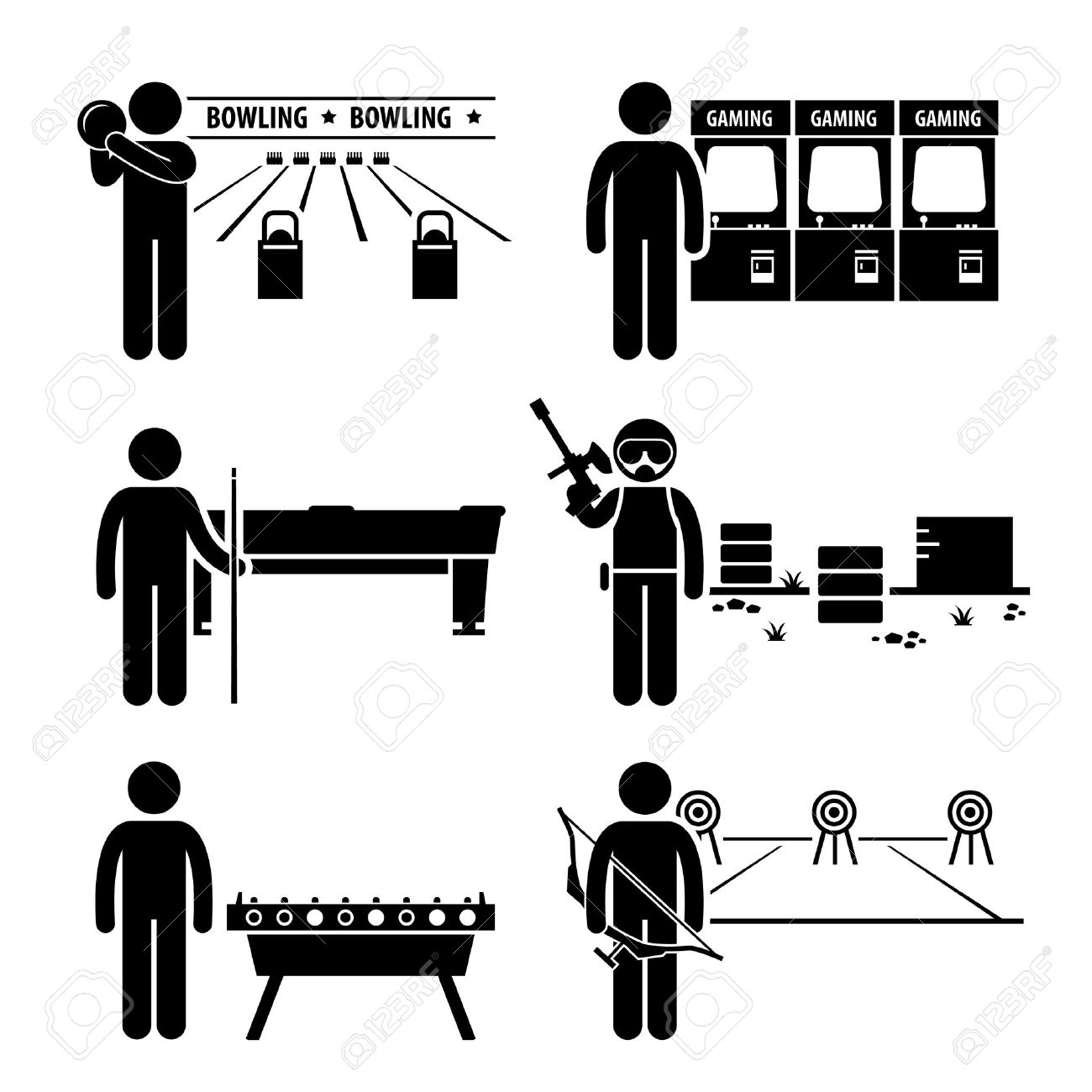 Recreational Leisure Games - Bowling, Arcade Center, Pool, Paintball, Soccer Table, Archery - Stick Figure Pictogram Icon Clipart Banque d'images - 26999409