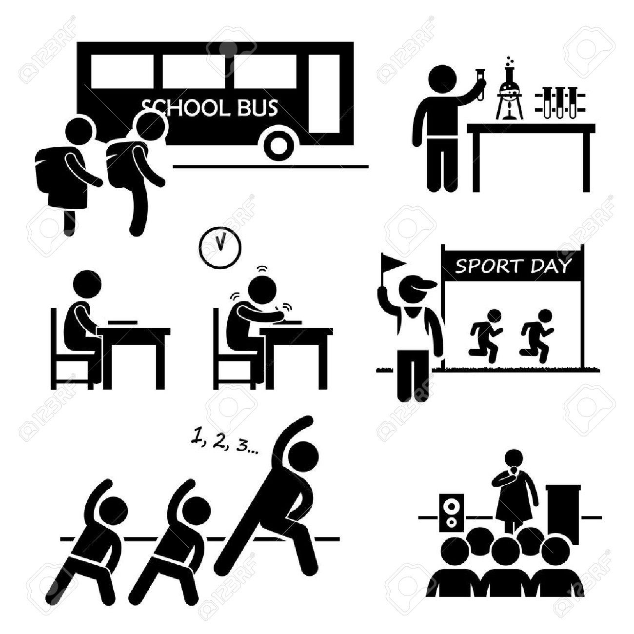 学生スティック図の絵文字アイコンのクリップアートの学校