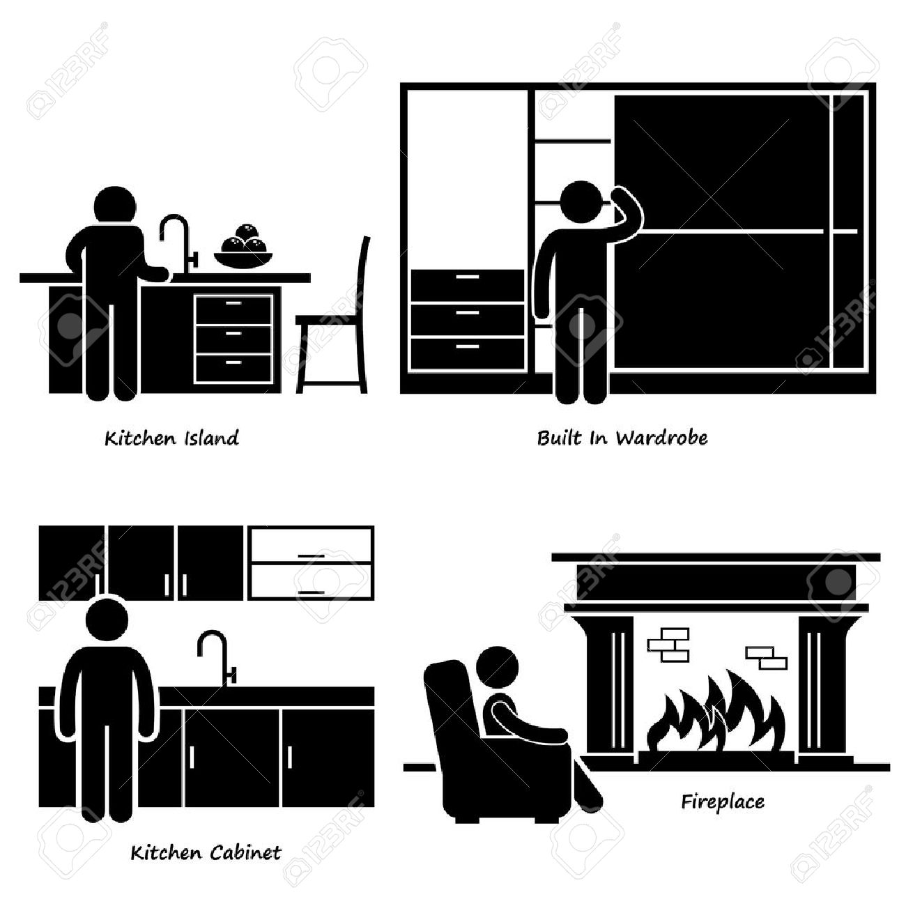 home house built in furniture stick figure pictogram icon cliparts