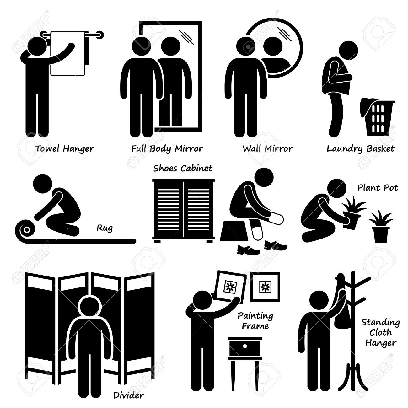 Home House Accessories and Decorations Stick Figure Pictogram Icon Cliparts  Stock Vector   29120928. Home House Accessories And Decorations Stick Figure Pictogram
