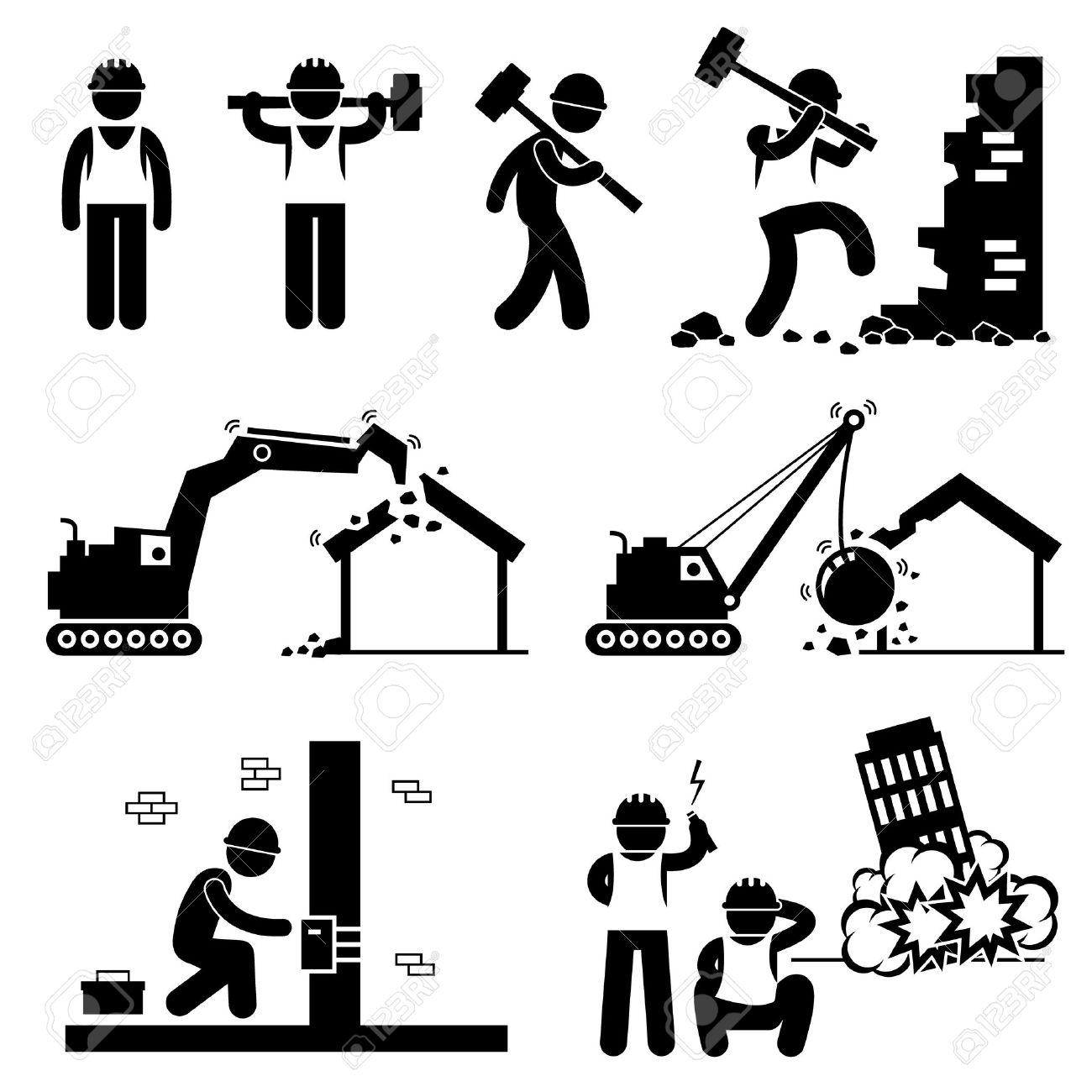 Bauarbeiter clipart schwarz weiß  Abbrucharbeiter Demolish Gebäude Strichmännchen-Icon-Piktogramm ...