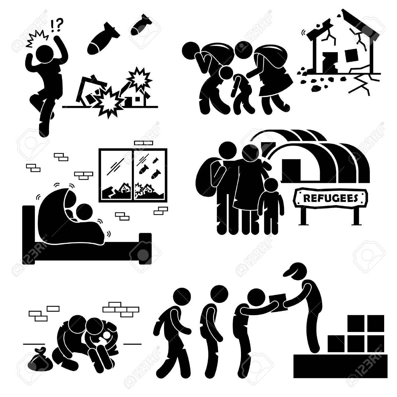 Refugees Evacuee War Stick Figure Pictogram Icons - 31542644
